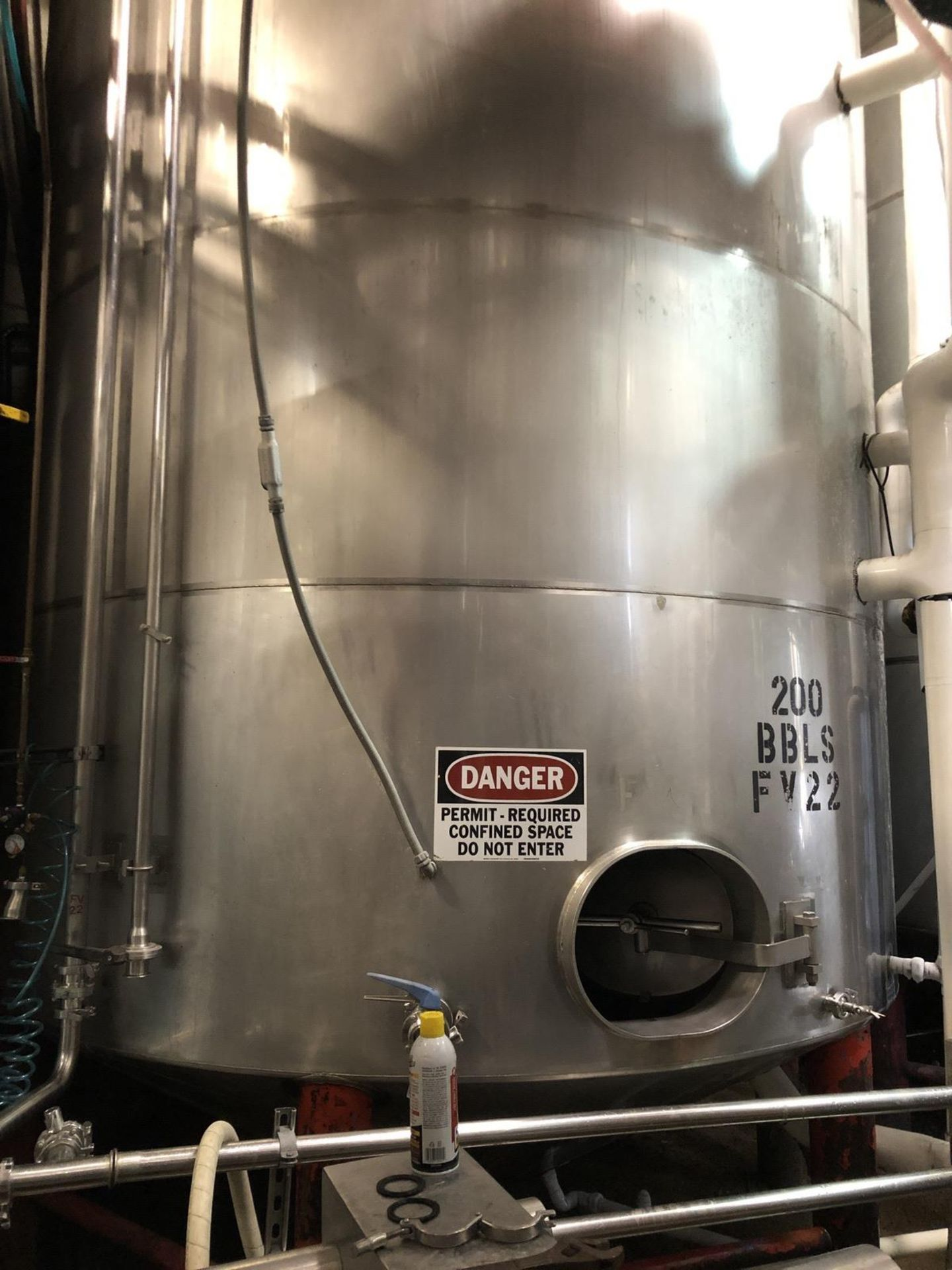 Lot 8 - Santa Rosa 200 BBL Fermenter, Cone Bottom, Glycol Jacketed, Stainless Steel, Approx | Rig Fee: $3300