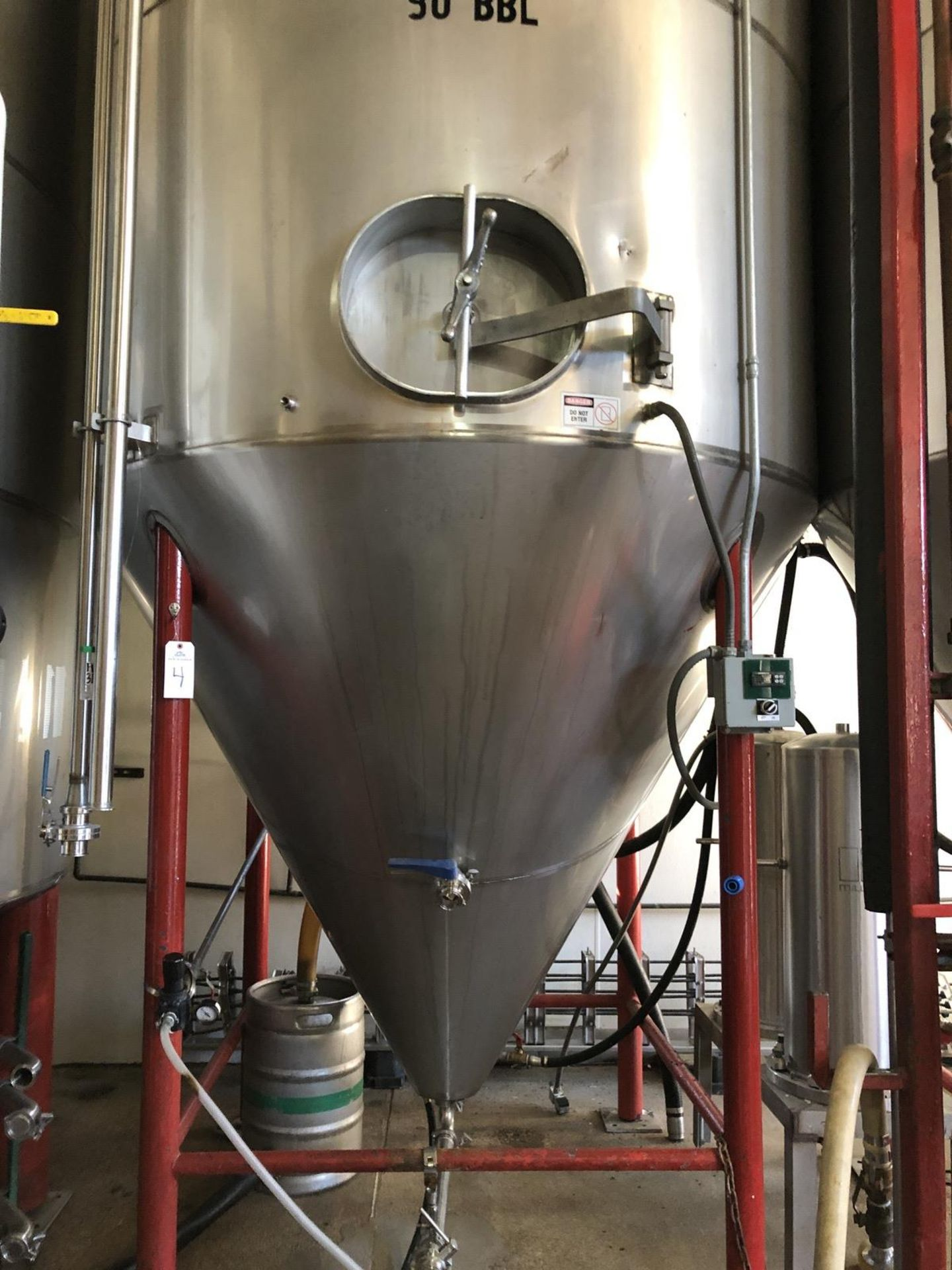 Lot 4 - Santa Rosa 90 BBL Fermenter, Cone Bottom, Glycol Jacketed, Stainless Steel, Approx | Rig Fee: $2500
