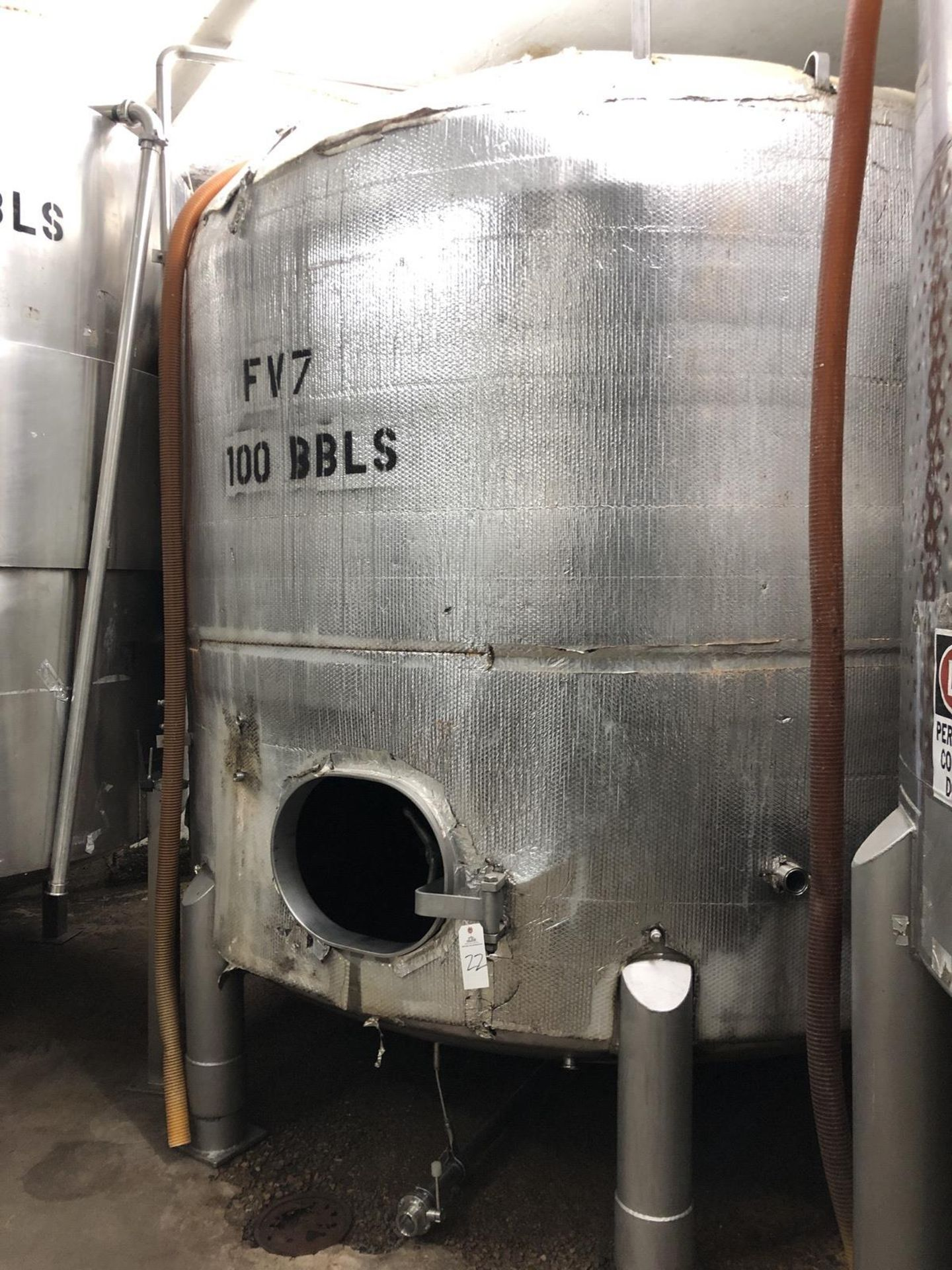 Lot 22 - Santa Rosa 100 BBL Fermenter, Dish Bottom, Glycol Channel Jacketed, Stainless Steel | Rig Fee: $2000