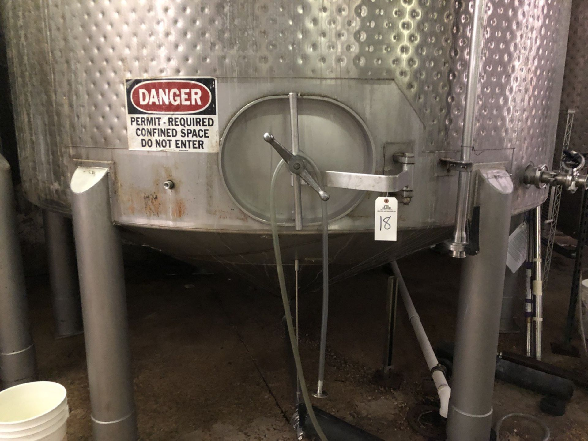Lot 18 - Santa Rosa 100 BBL Fermenter, Cone Bottom, Glycol Dimple Jacketed, Stainless Steel, | Rig Fee: $2000