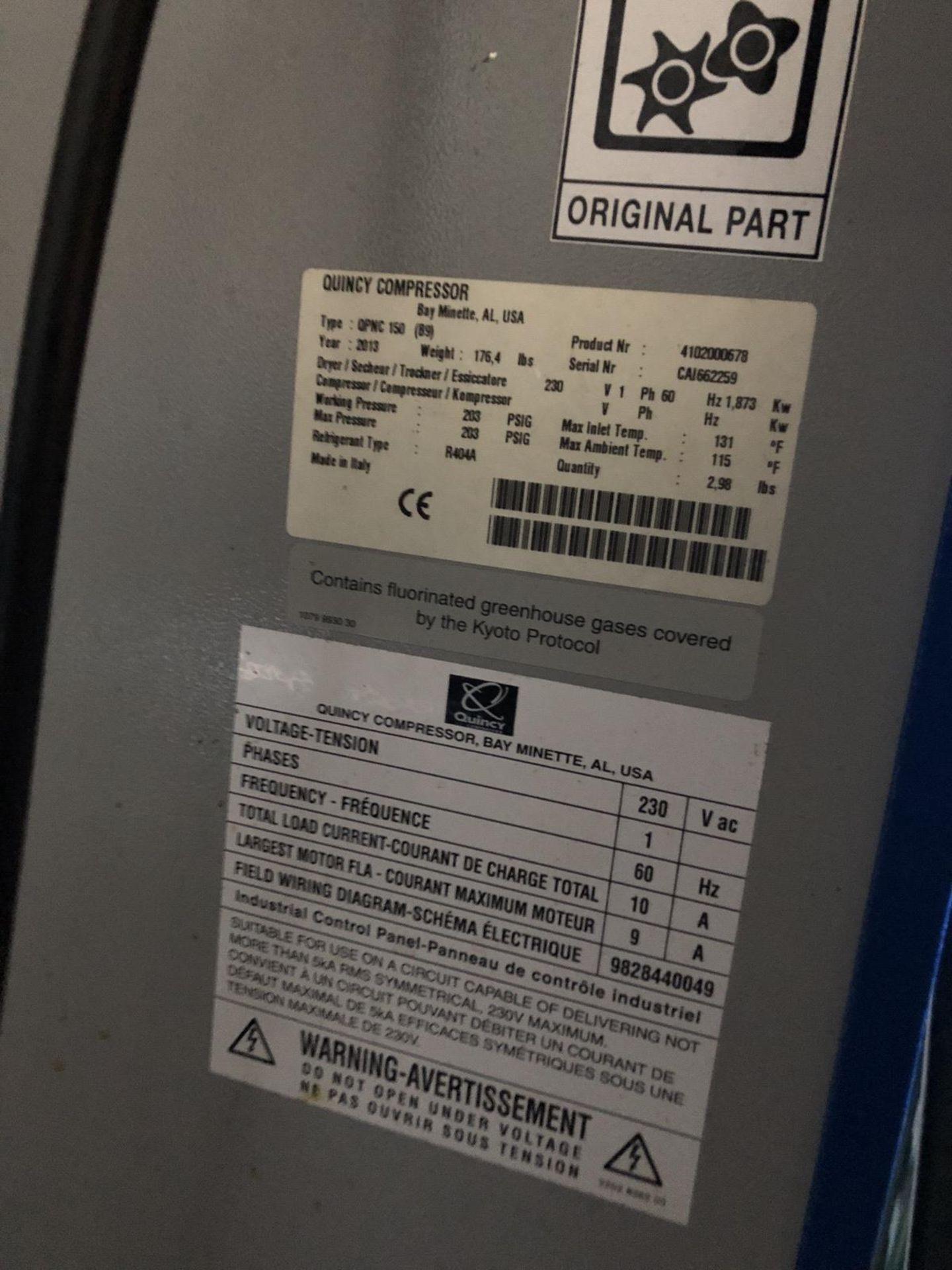 Lot 38A - 2013 Quincy Model QPMC 150 Air Dryer | Rig Fee: $200