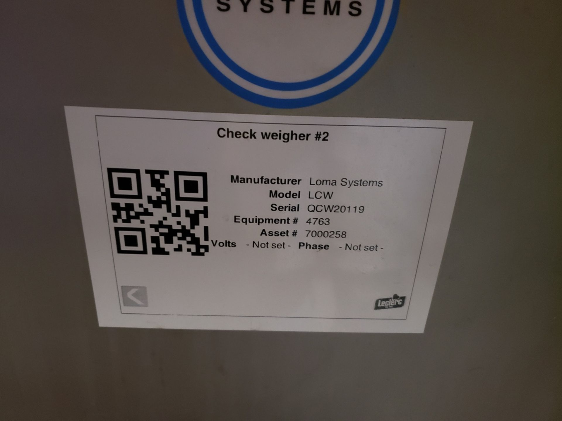 Lot 3 - Loma Systems Check Weigher, M# LCW, S/N QCW20119