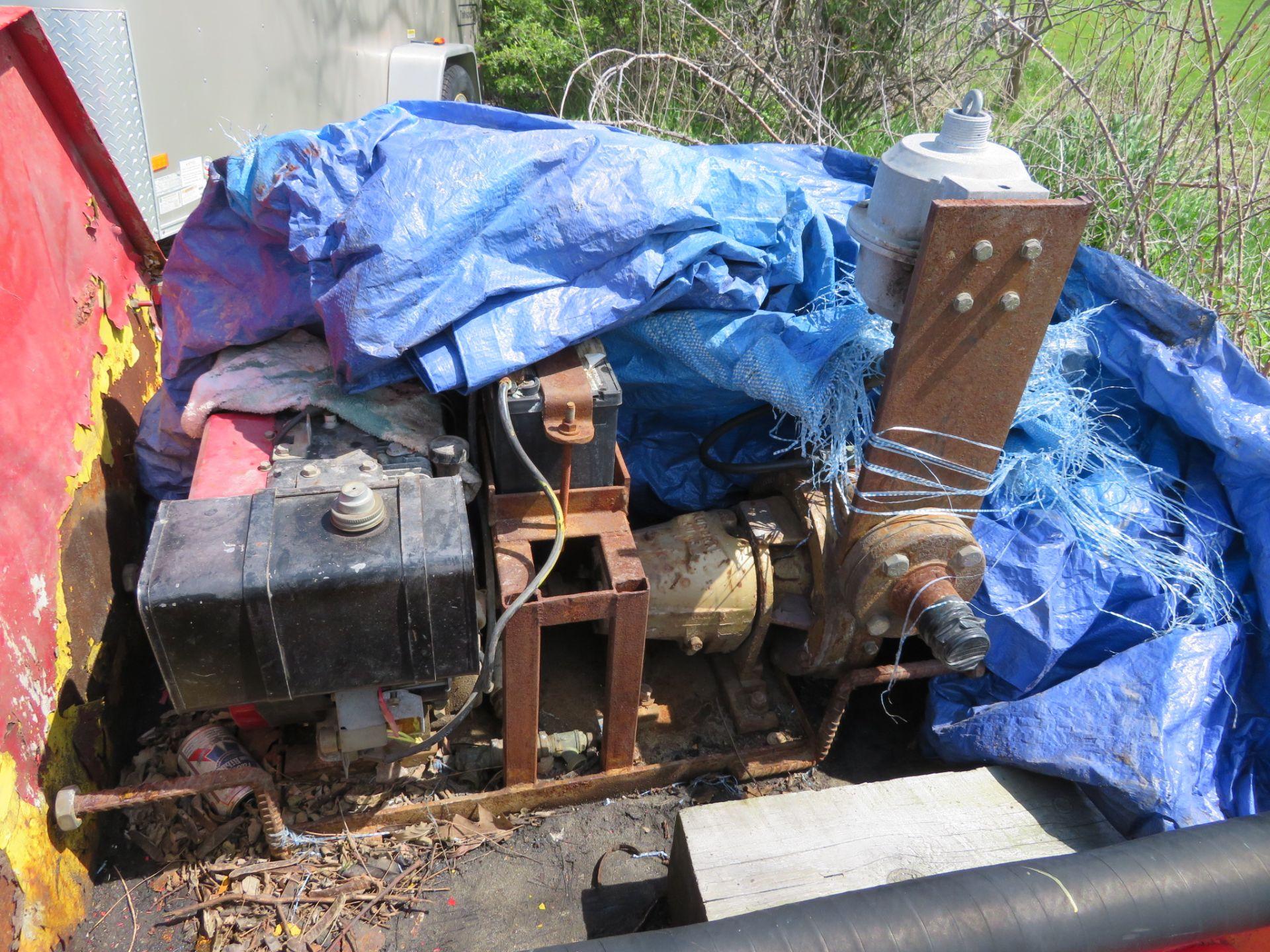 Lot 14 - Single Axle 5 1/2' Steel Trailer w/ Air Compressor Gas Powered & Alum. Tool Box w/ Aurora Gas