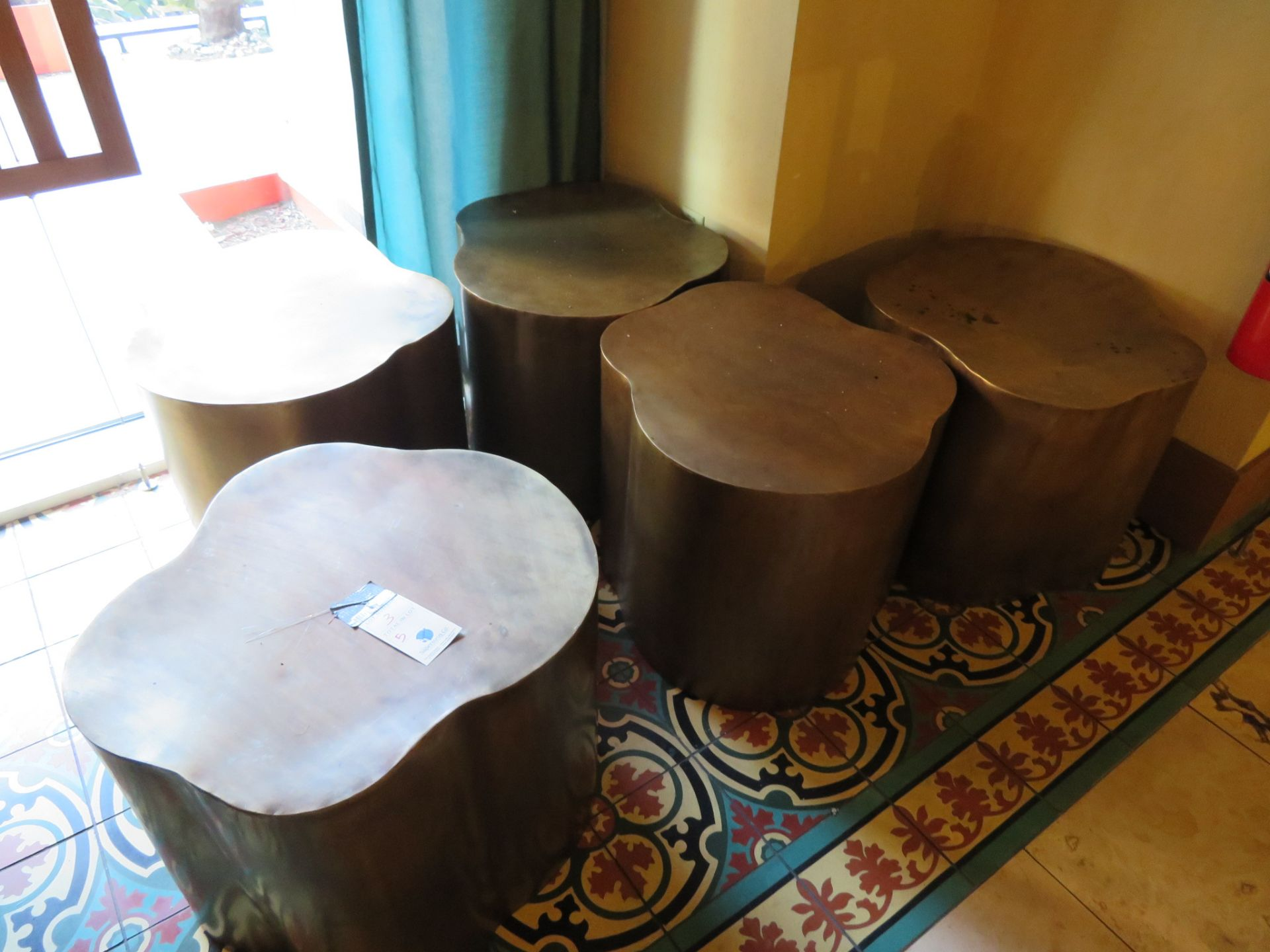 Lot 3 - (5) Metal Tree Stump Stools