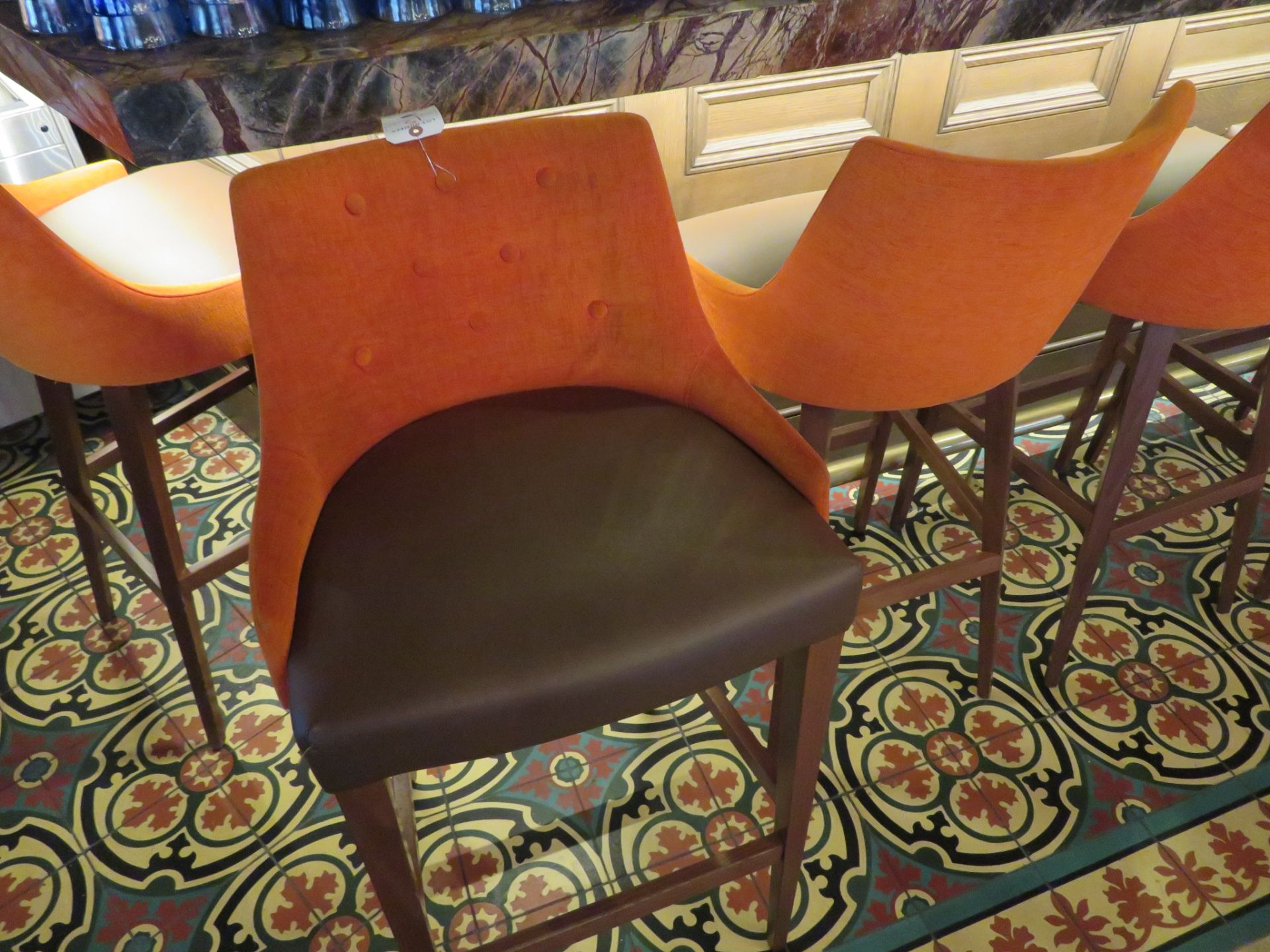 Lot 15 - (11) Orange Tufted Fabric Back w/ Brown Vinyl UPH Seat Wood Leg Bar Stools