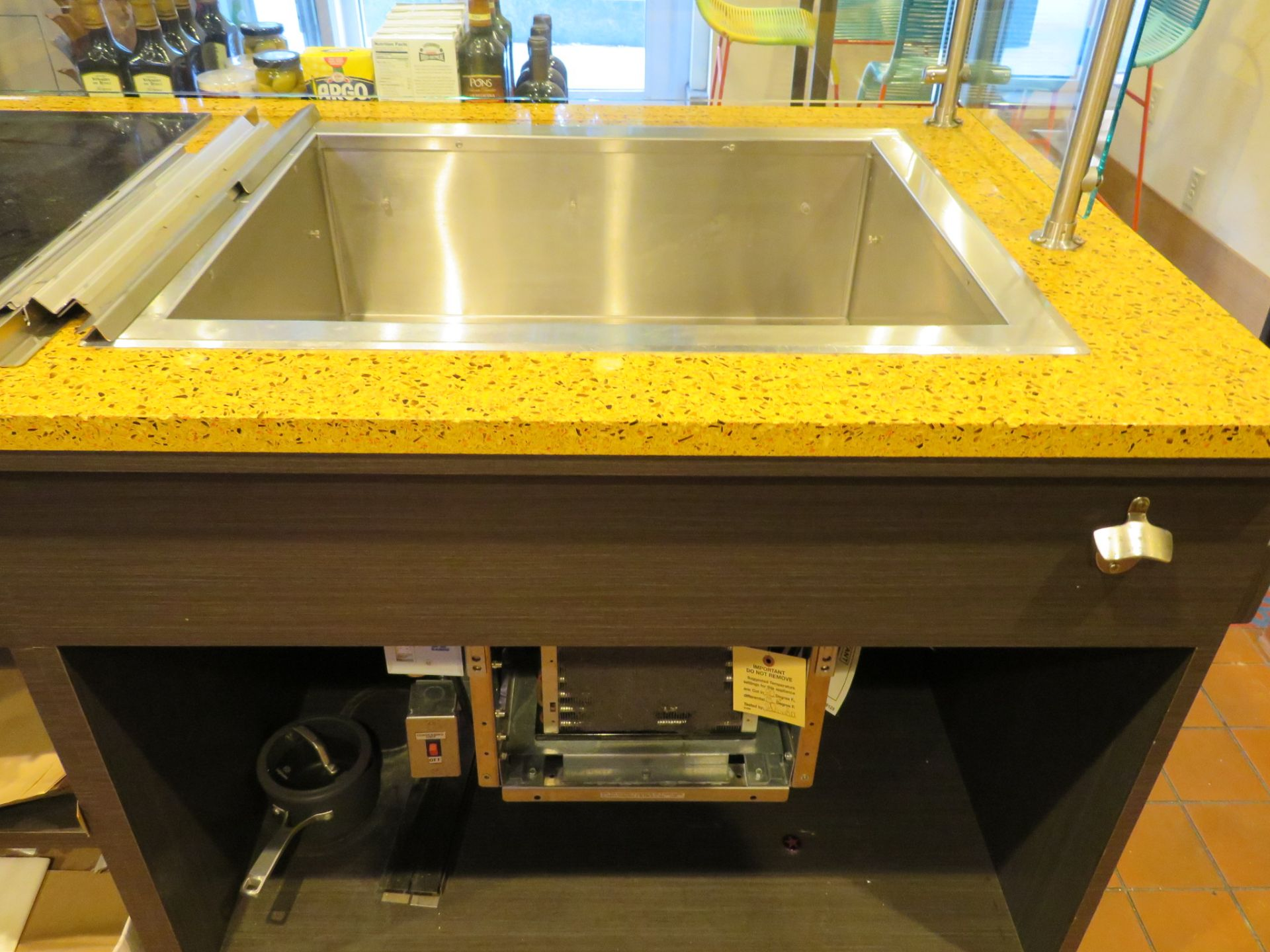 """Lot 64 - Approx. 10' Take Out Service Counter w/ Solid Surface Top Sneeze Guard Heat Lamp, 30"""" Drop in REF"""