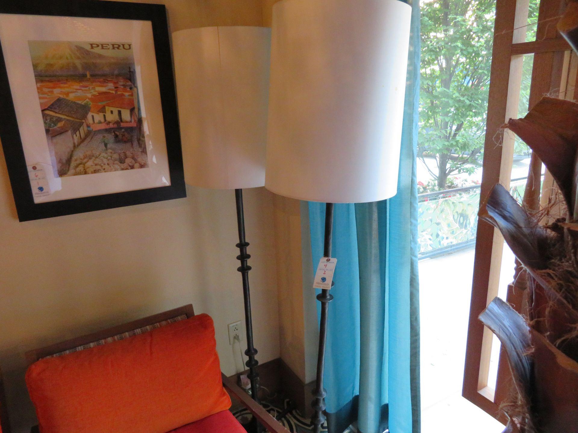 Lot 4 - (2) Iron Base 6' Floor Lamps