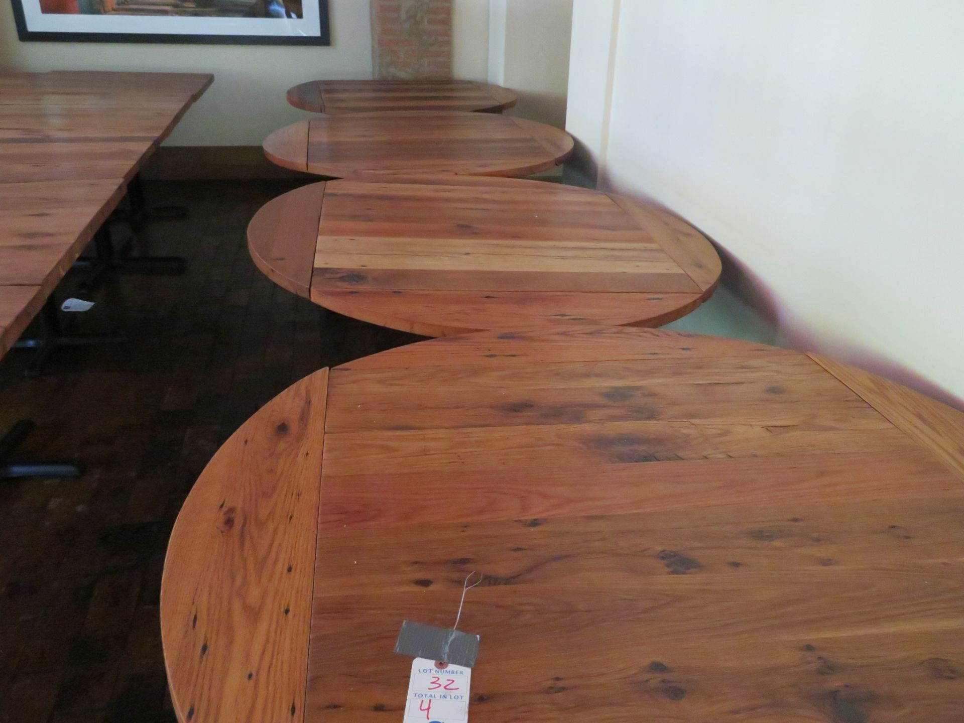 "Lot 32 - (4) Approx. 48"" Drop Leaf to 36"" X 36"" Wood Top Tables"