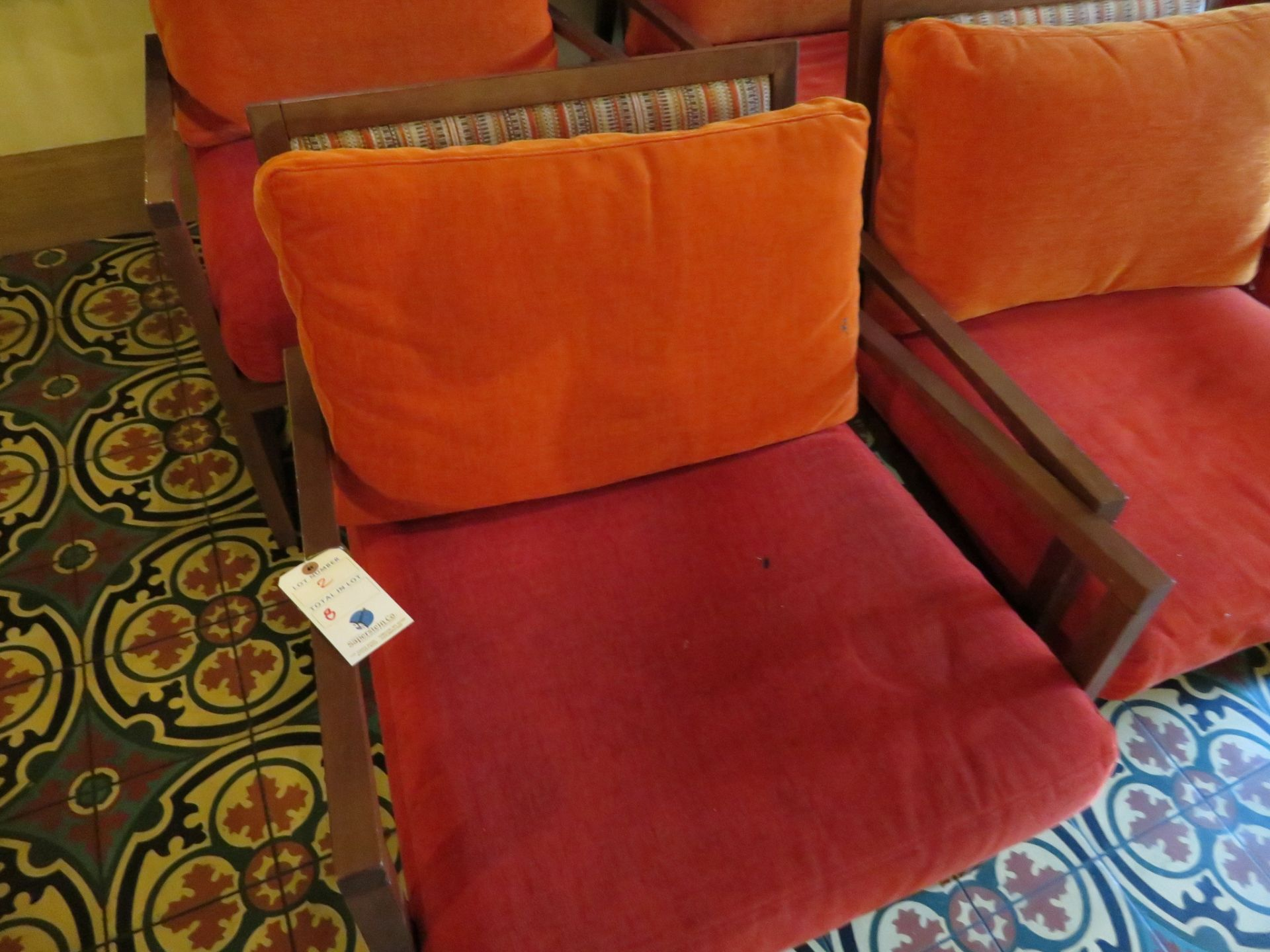 Lot 2 - (8) Wood Frame UPH S+B Arm Chairs