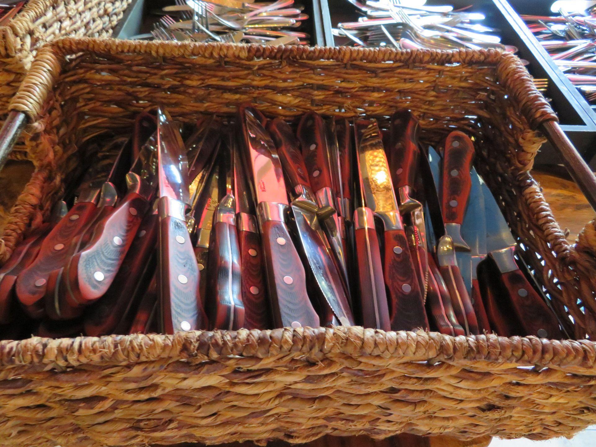 Lot 20 - (Lot) Silverware w/ Approx. 150 Walco Hunter Steak Knives w/ Restaurant Logo On Blade