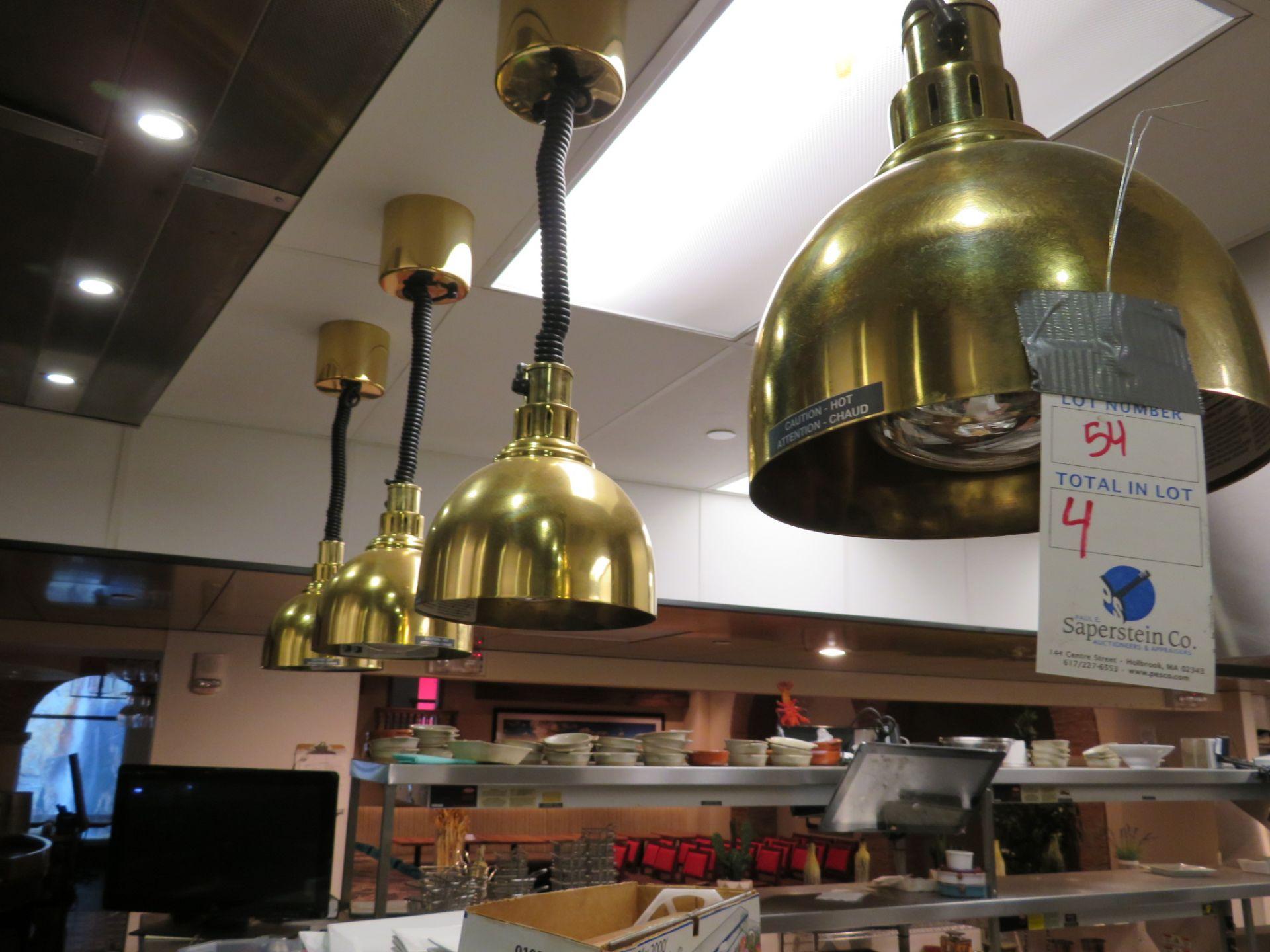 Lot 54 - (4) Hatco # DLH 725 Heat Lamps w/ Brass Pendant