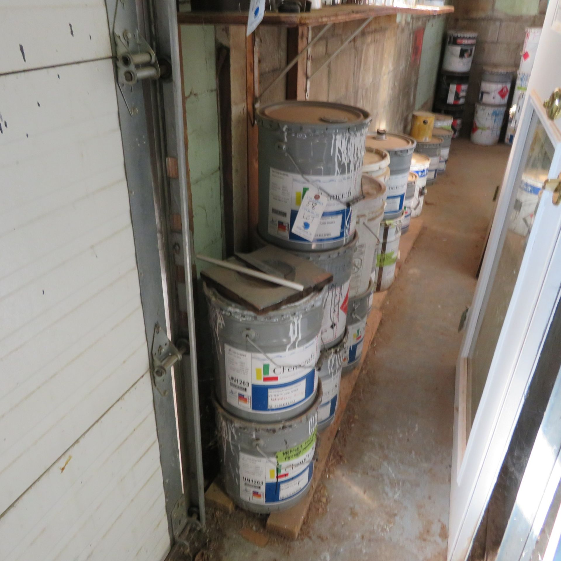 Lot 58 - {LOT} Balance of Paints, Solvents, Stain, ETC throughout building (Take what you want, leave what