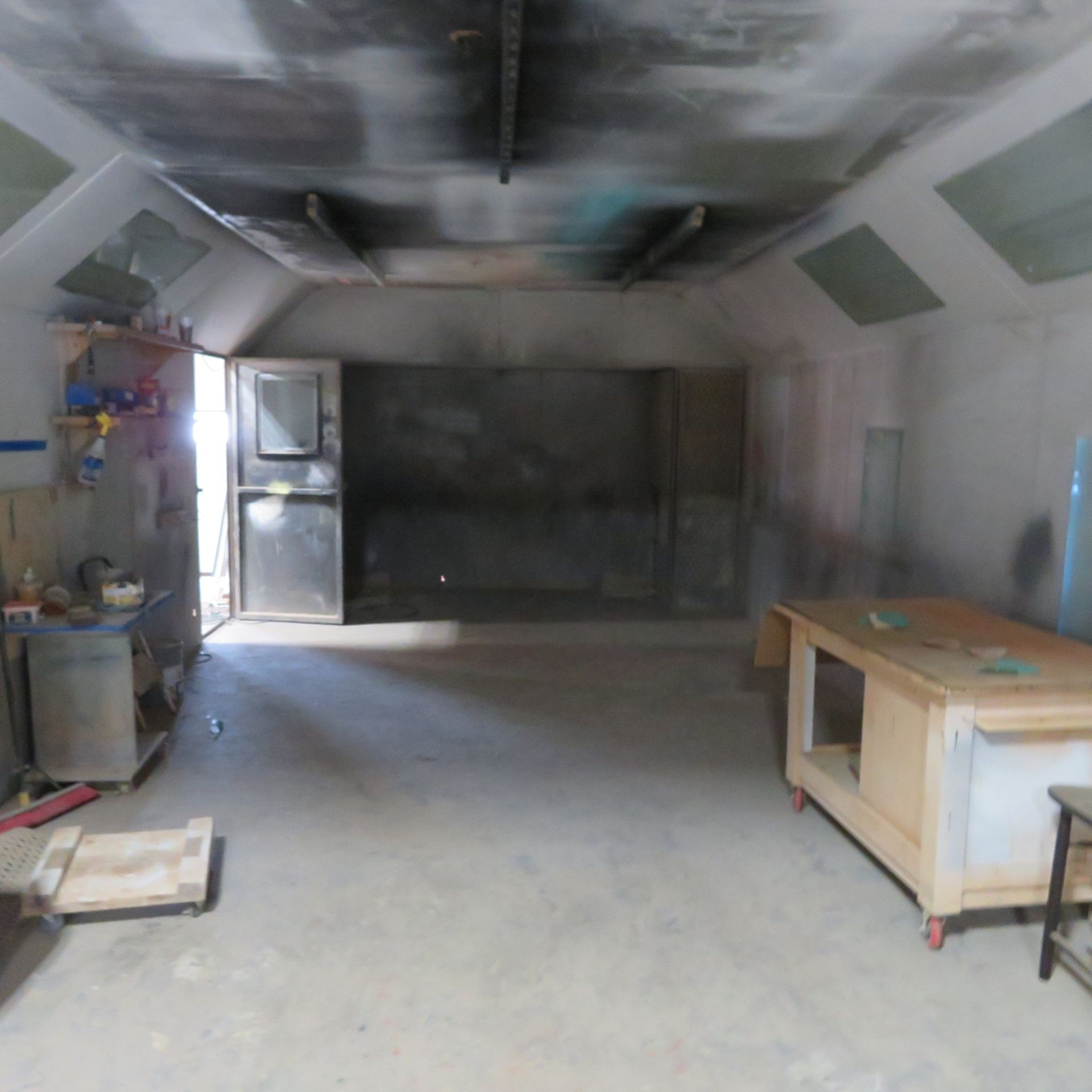 Lot 15 - Approx. 15' x 13' Spray Booth w/Filter System, Lights & Additional Panels (Must be disconnected by