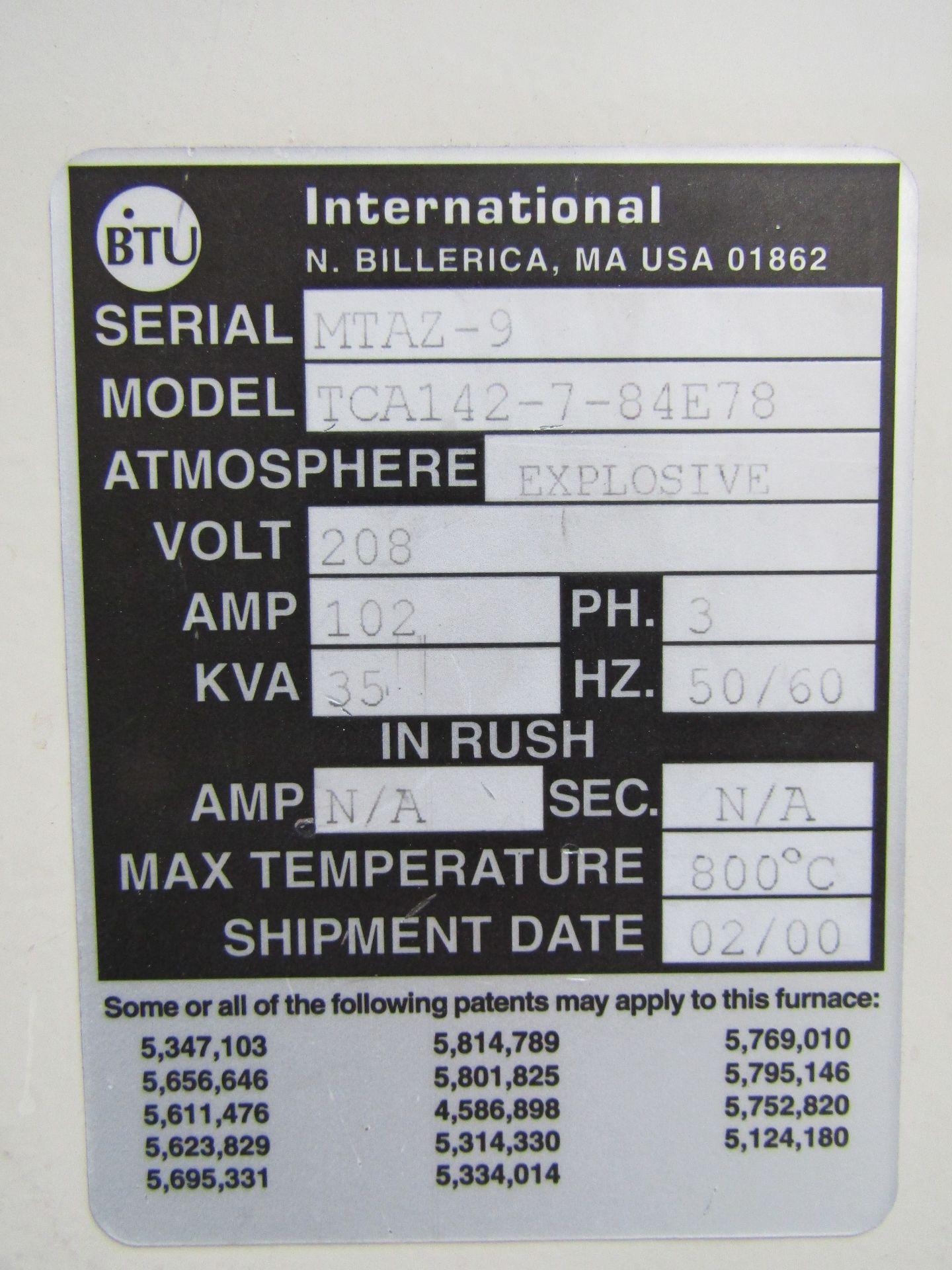 Lot 12 - 2000 BTU INTERNATIONAL Annealing Furnace, Model TCA142-7-84E78, Serial MTAZ-9, Max Temp 800 C