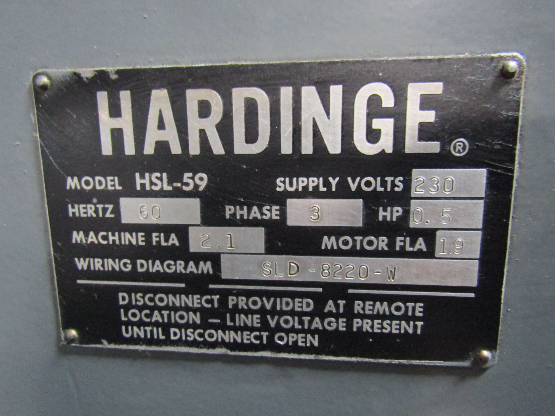 Lot 2 - HARDINGE HSL-59 Speed Lathe, Dovetail Bed