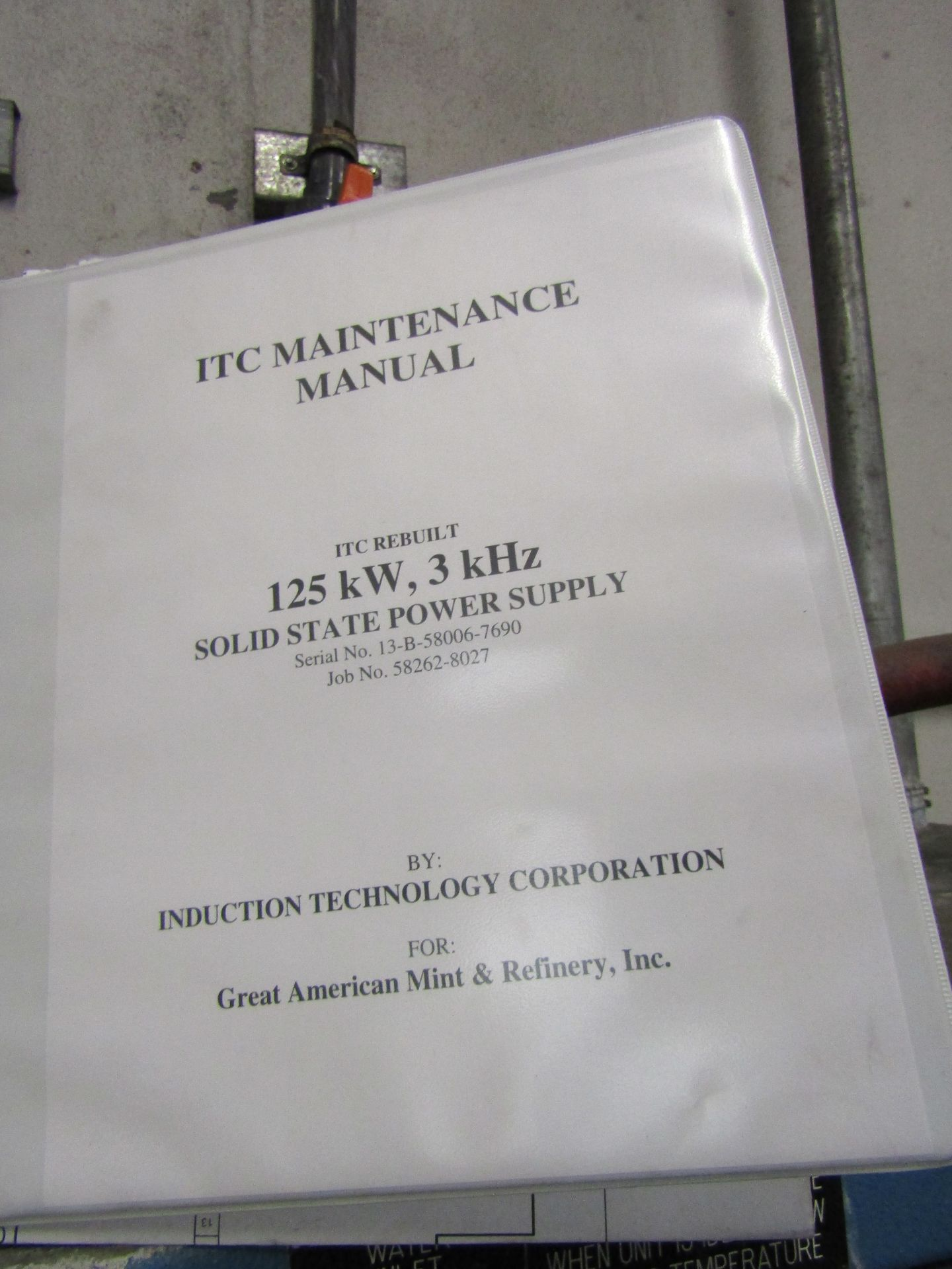 Lot 13 - ITC Induction Furnace Power Pack, 125 KW, 3000 HZ Output, Approx Melt Rate 1180 LBS Per Hour (
