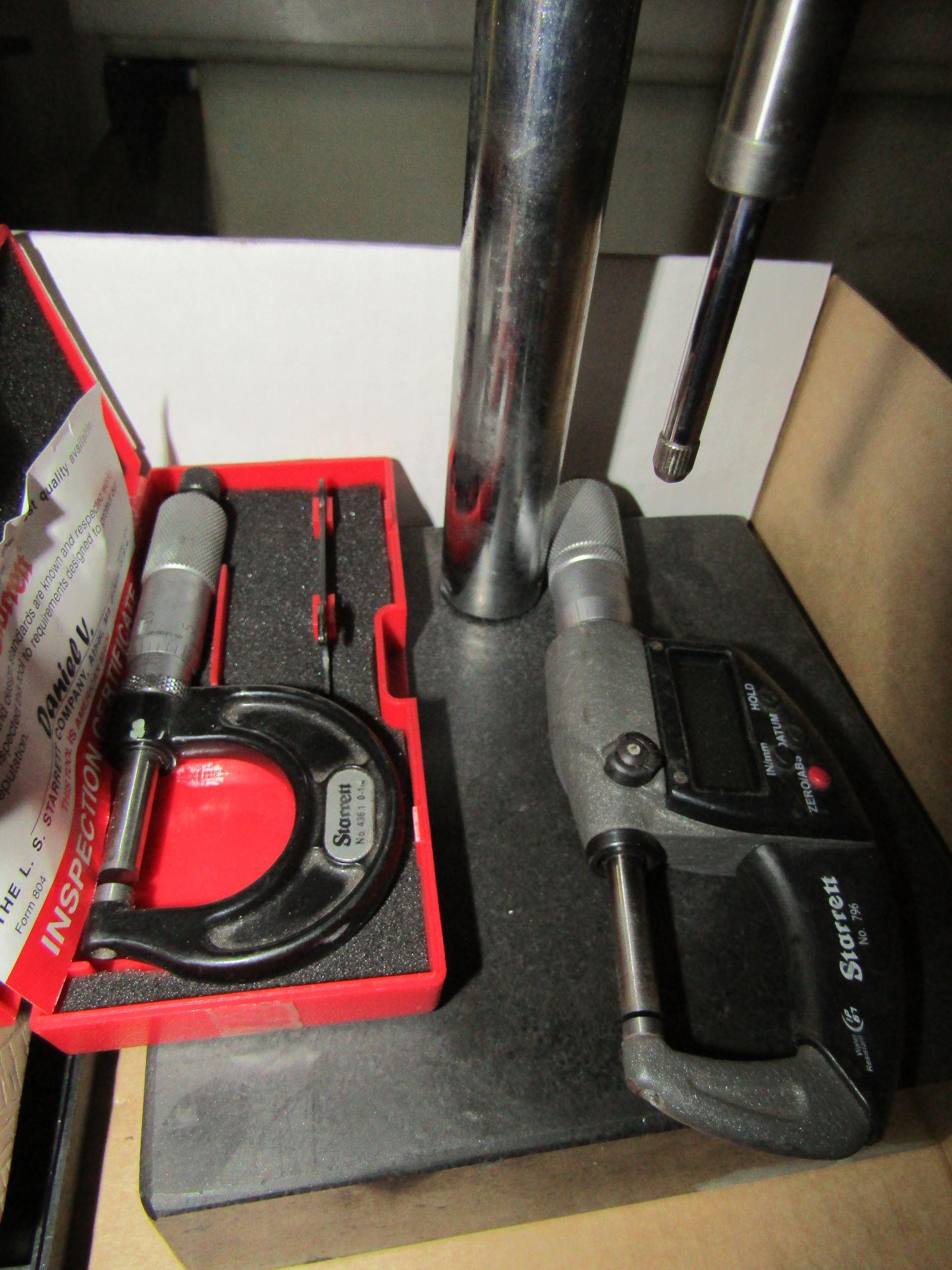 Lot 43 - Lot to Include: Teclock Depth Gauge With Granite Base, Digital Caliper, Digital Micrometer, Misc.