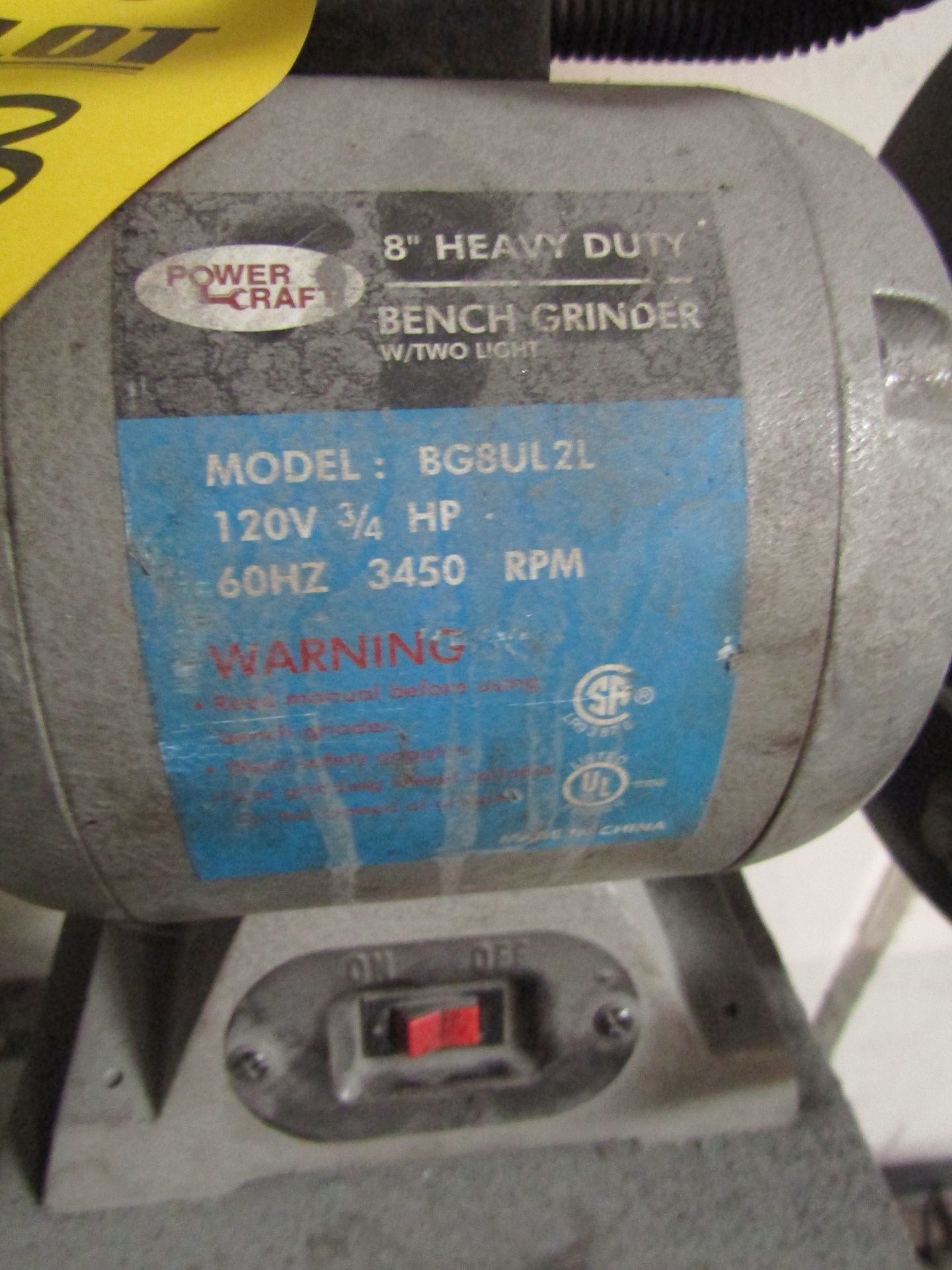 "Lot 33 - POWERCRAFT 8"" Heavy Duty Pedestal Grinder, Model BG8UL2L, 120 V, 3/4 HP, 60 HZ, 3450 RPM"
