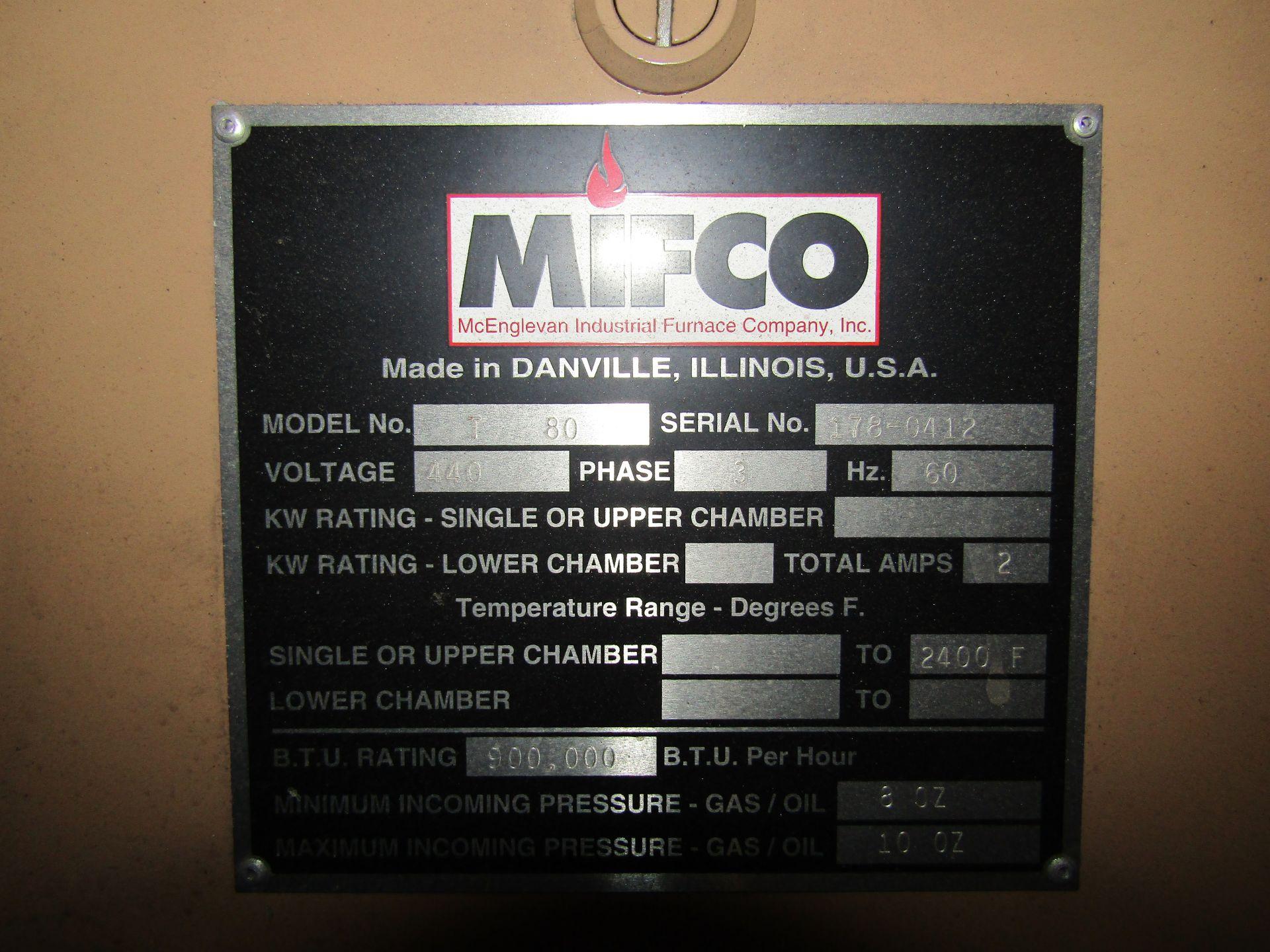 Lot 17 - MIFCO T-80 Gas Furnace, S/N 178-0412, 440 V, 3 Phase, 60 HZ, 900,000 BTU