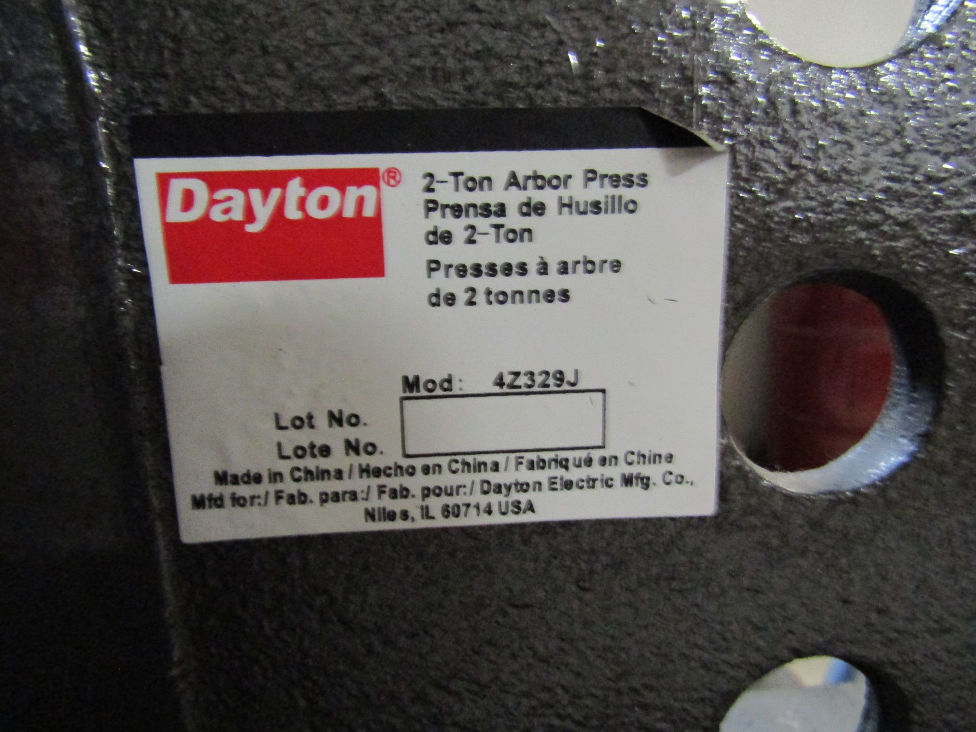 Lot 52 - DAYTON 2-Ton Arbor Press Model 4Z329J