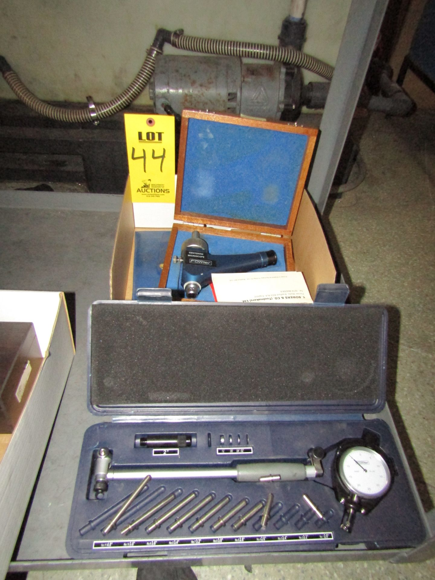 Lot 44 - Lot to Include: (1) Fowler Dial Bore Gage Set, (1) Fowler Centering Microscope, Gage Pin Set