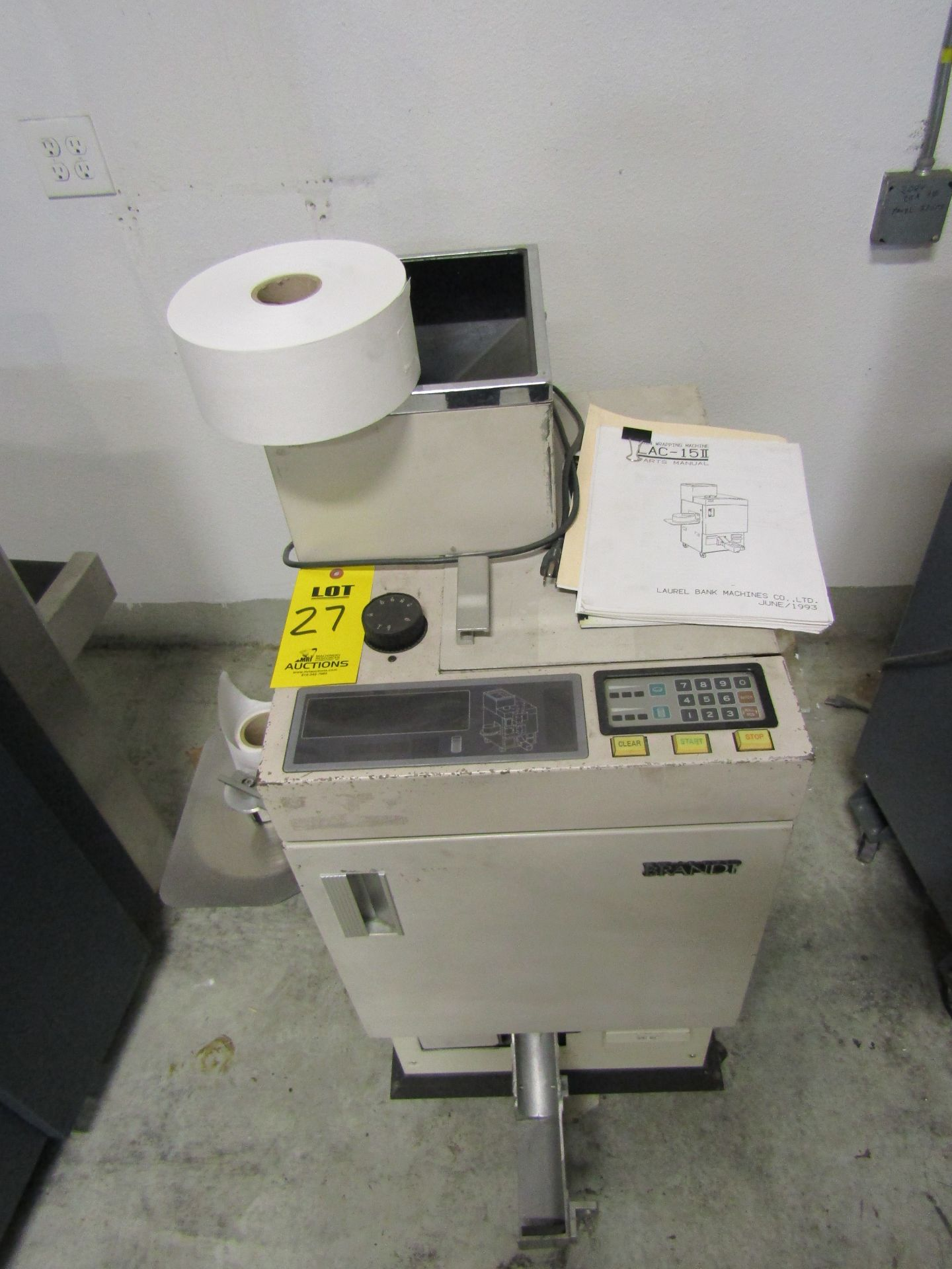 Lot 27 - BRANDT Automatic Coin Wrapping Machine with Spare Roll of Packing Paper, Model 2435120, S/N 698498
