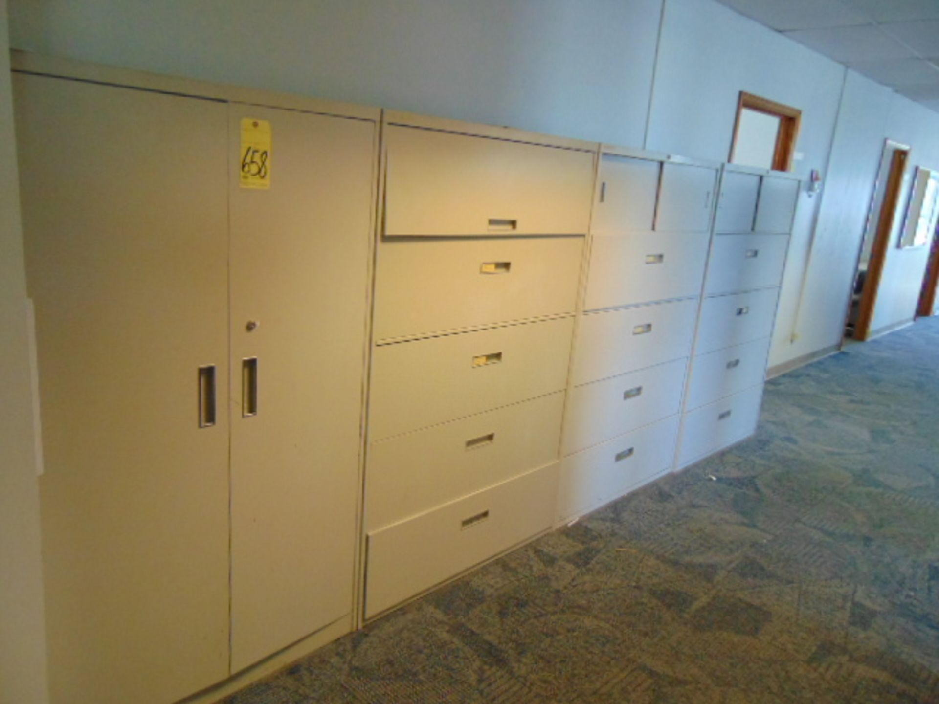 Lot 658 - LOT CONSISTING OF: 2-door supply cabinet & (3) lateral file cabinets (located upstairs)