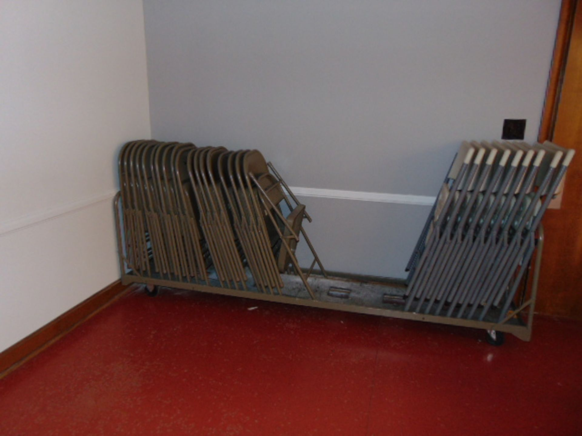 Lot 534 - LOT CONSISTING OF: (3) folding leg tables, folding chairs, storage carts