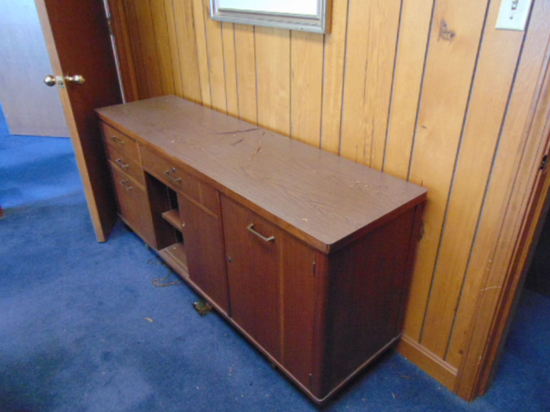 Lot 681 - LOT CONSISTING OF: oval table, credenza, bookcase, (2) end tables & (8) chairs (located upstairs)