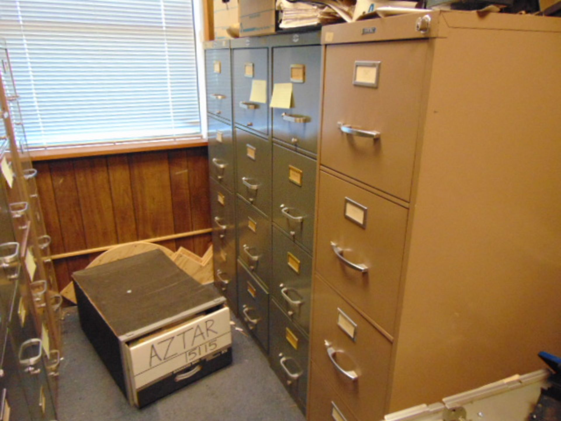 Lot 670 - LOT CONSISTING OF: desk, credenza, file cabinets (in two rooms located upstairs)