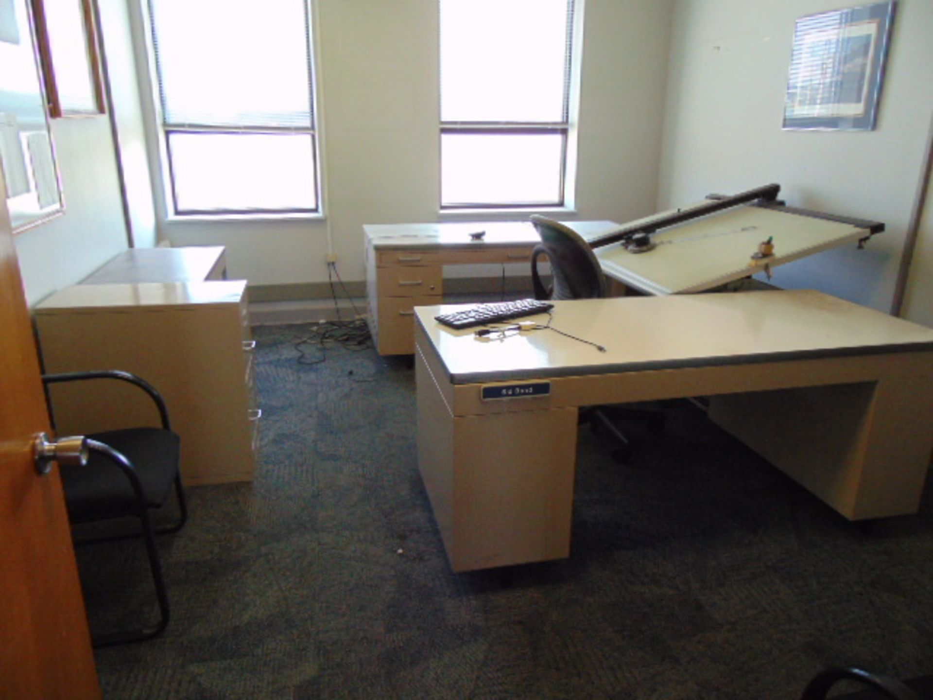 Lot 659 - LOT CONSISTING OF: drafting table, (2) desks, file cabinet, bookcase & (3) chairs (located