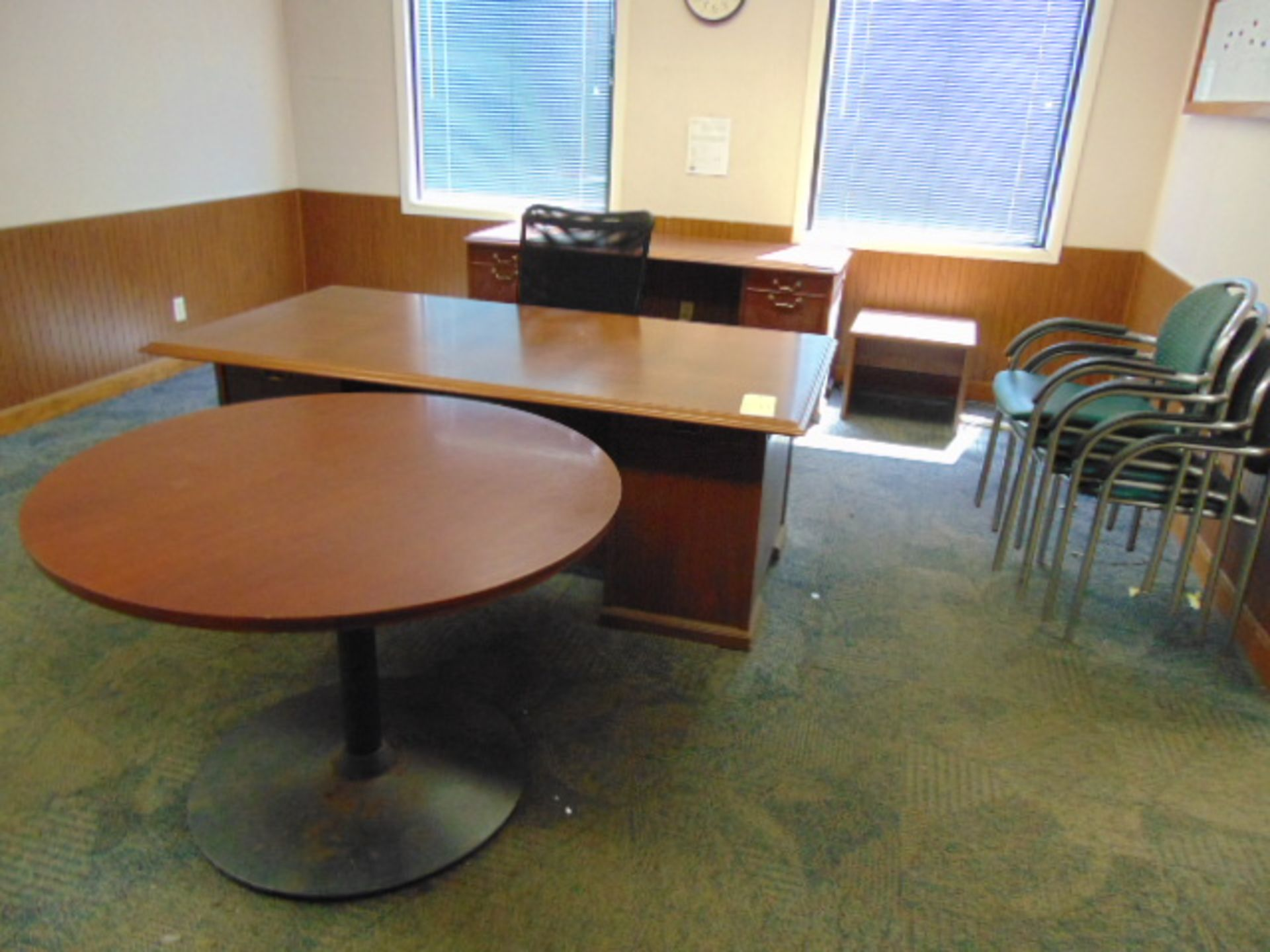 Lot 531 - LOT CONSISTING OF: wood desk, credenza, round table, lateral file cabinet & (9) chairs