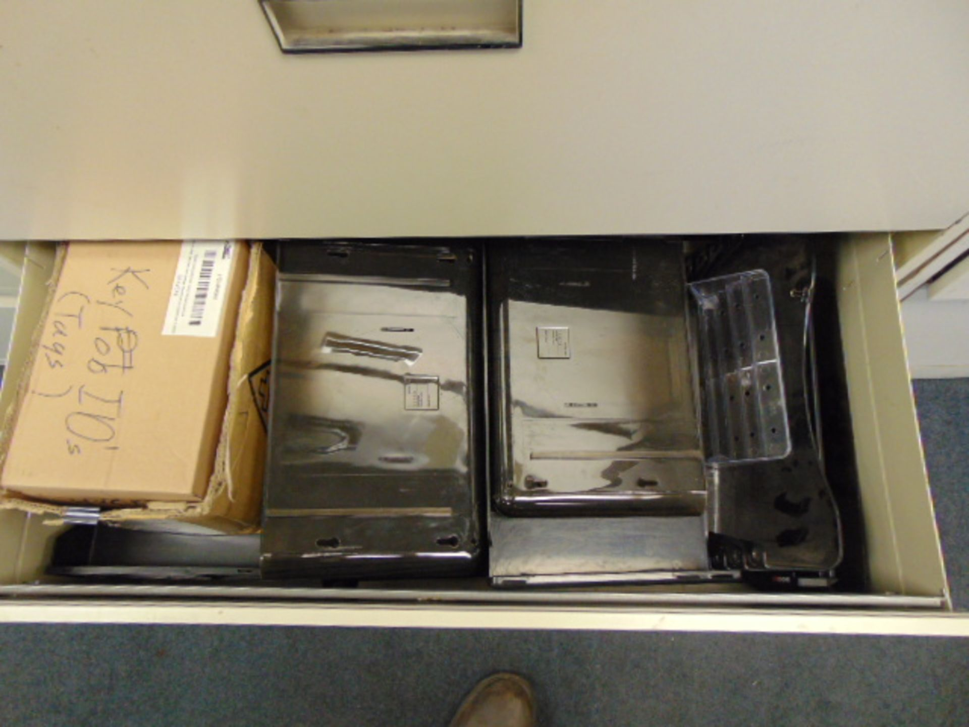 Lot 544 - LOT OF LATERIAL FILE CABINETS (4), w/office supplies