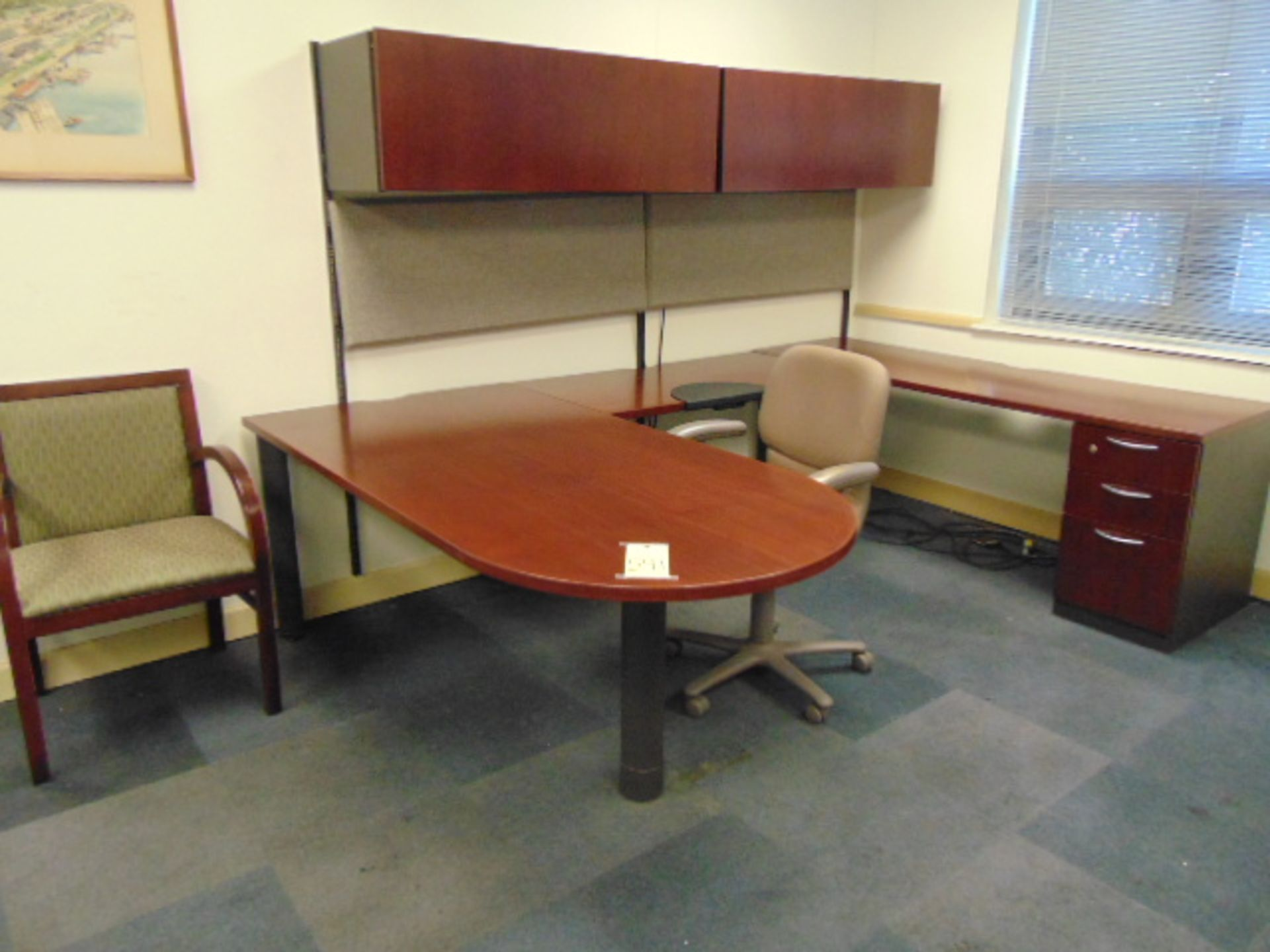 Lot 541 - LOT CONSISTING OF: V-shaped wood desk, w/legal size file cabinet, & (2) chairs