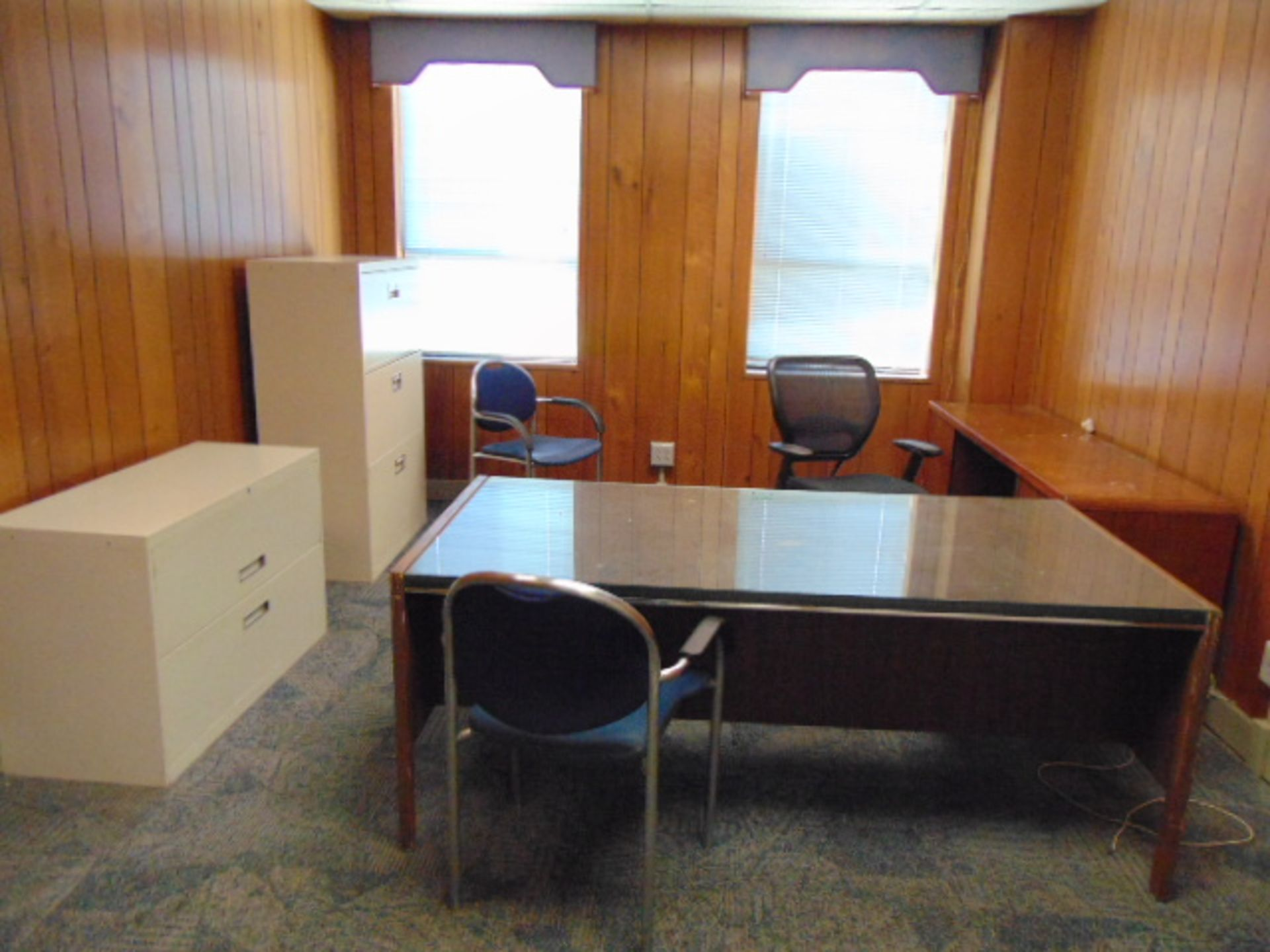 Lot 648 - LOT CONSISTING OF: desk, credenza, (3) file cabinets, & (3) chairs, assorted