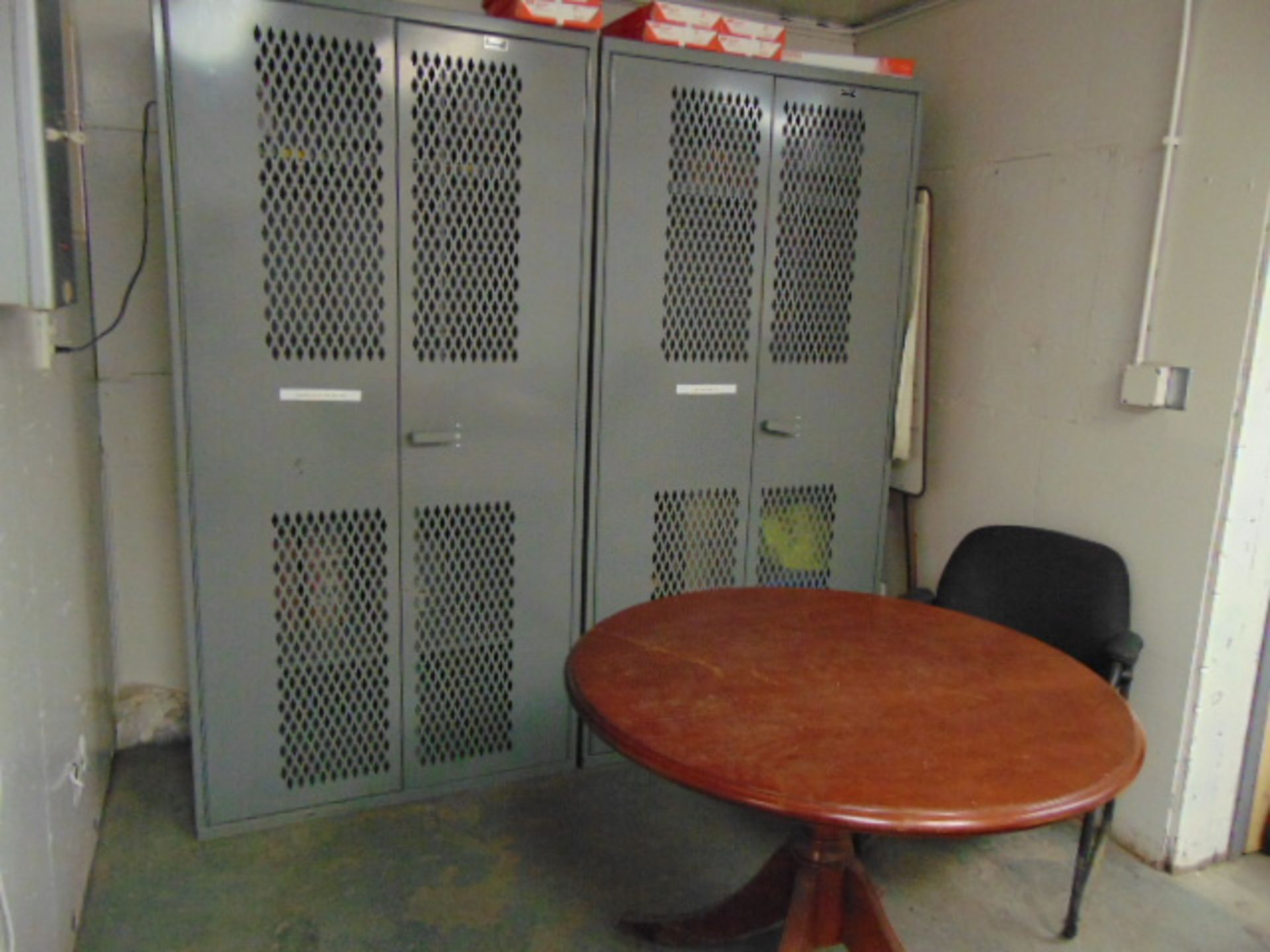 Lot 3211 - LOT CONSISTING OF: desk, credenza, round table, (3) cabinets, assorted & (5) chairs
