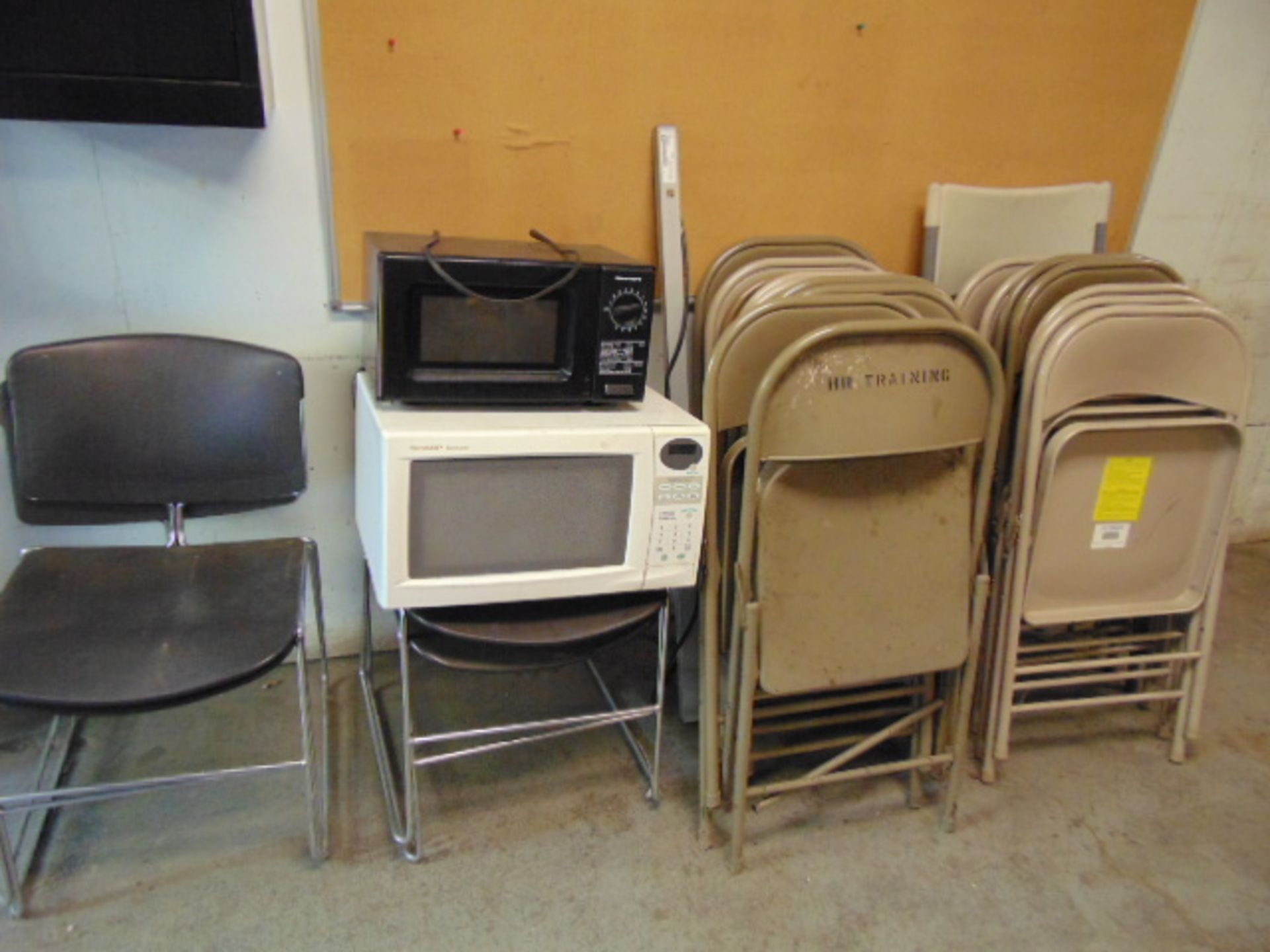 Lot 3124 - LOT CONSISTING OF: (11) desks & tables, chairs, microwave ovens (cannot be removed until contents