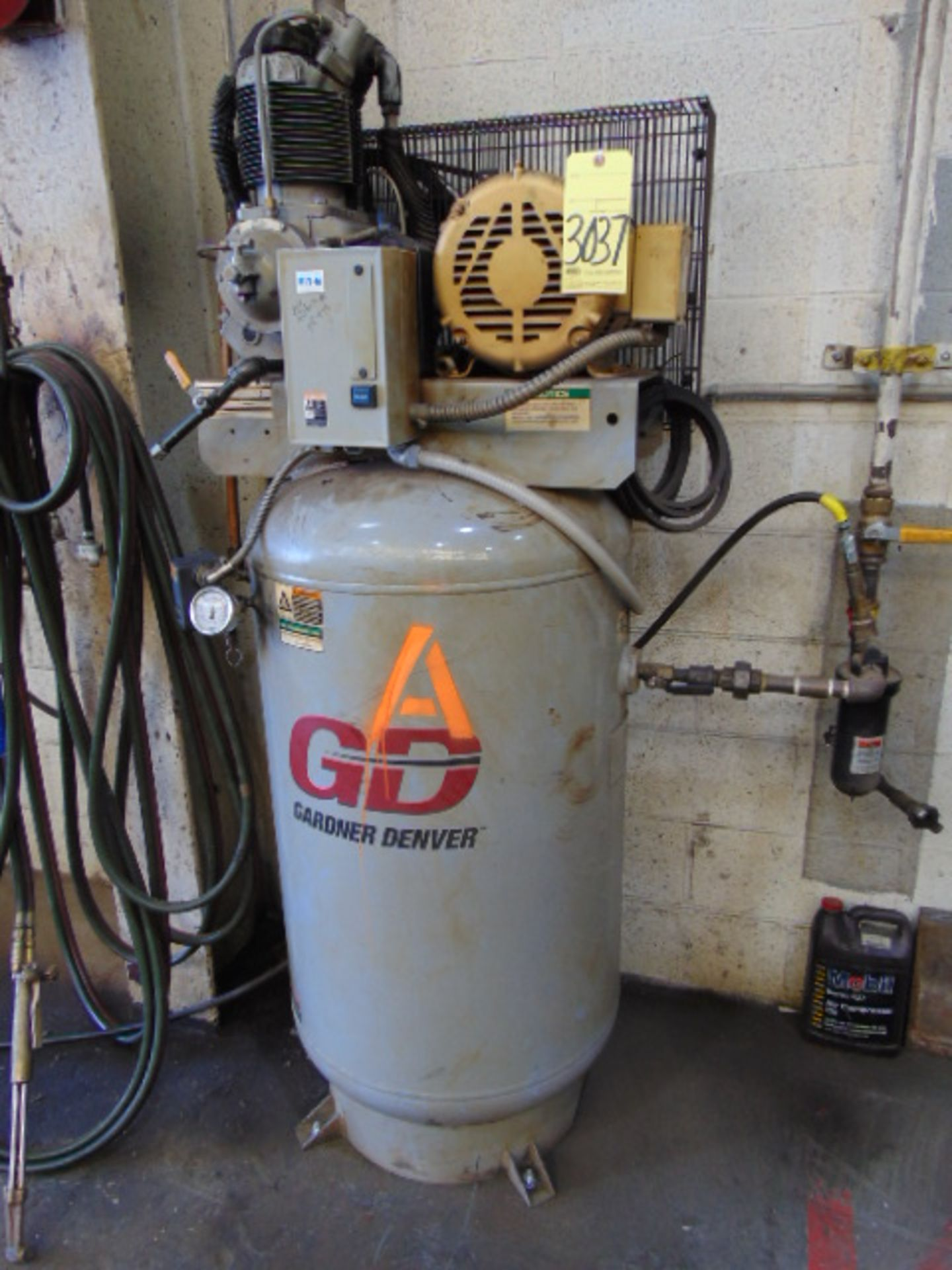 Lot 3037 - VERTICAL AIR COMPRESSOR, GARDNER DENVER MDL. VR7F-8, 7.5 HP, 3-phase, S/N D100333