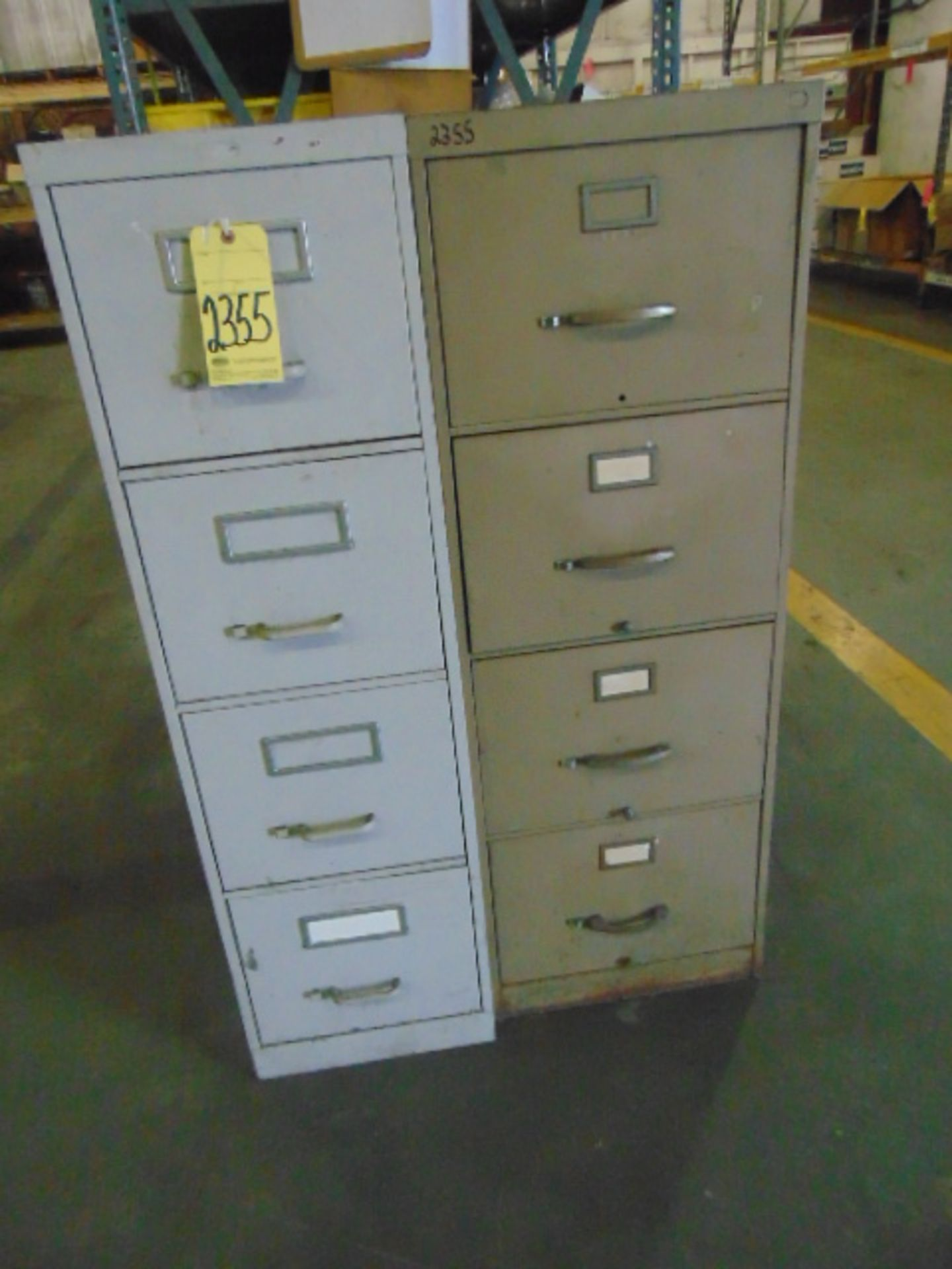 Lot 2355 - LOT CONSISTING OF: office supplies, w/2-door cabinet, (2) 4-drawer file cabinets