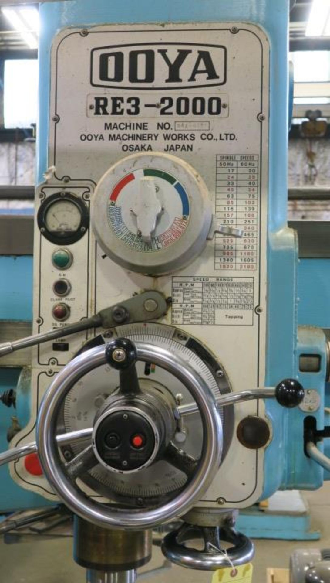 """Lot 5 - RADIAL ARM DRILL, OOYA 6' X 17"""" MDL. RE3-2000, spds: 20-2180 RPM, pwr. clamping & elevation, 29"""" x"""