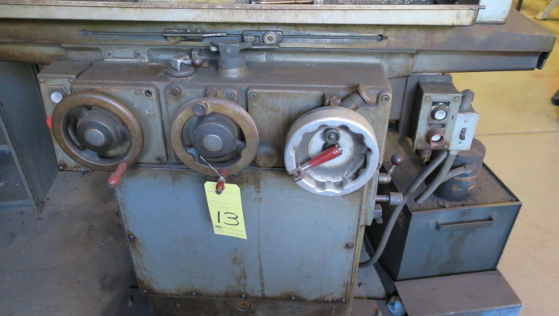 """Lot 13 - HYDRAULIC SURFACE GRINDER, BROWN & SHARPE 6"""" X 18"""" MICROMASTER, fine downfeed handle, hyd. long. &"""