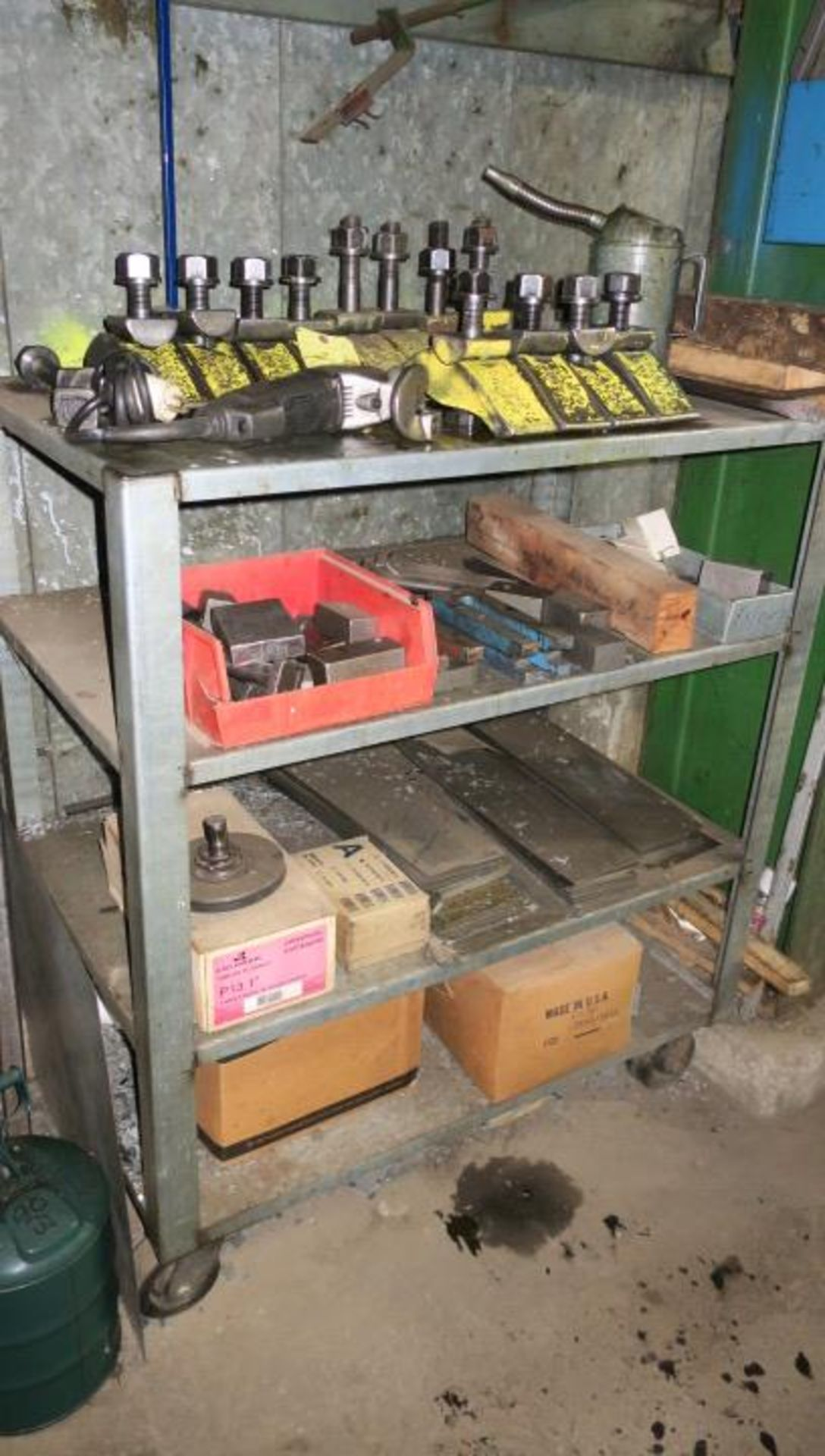 Lot 17 - RACK, w/assorted die clamping equipment