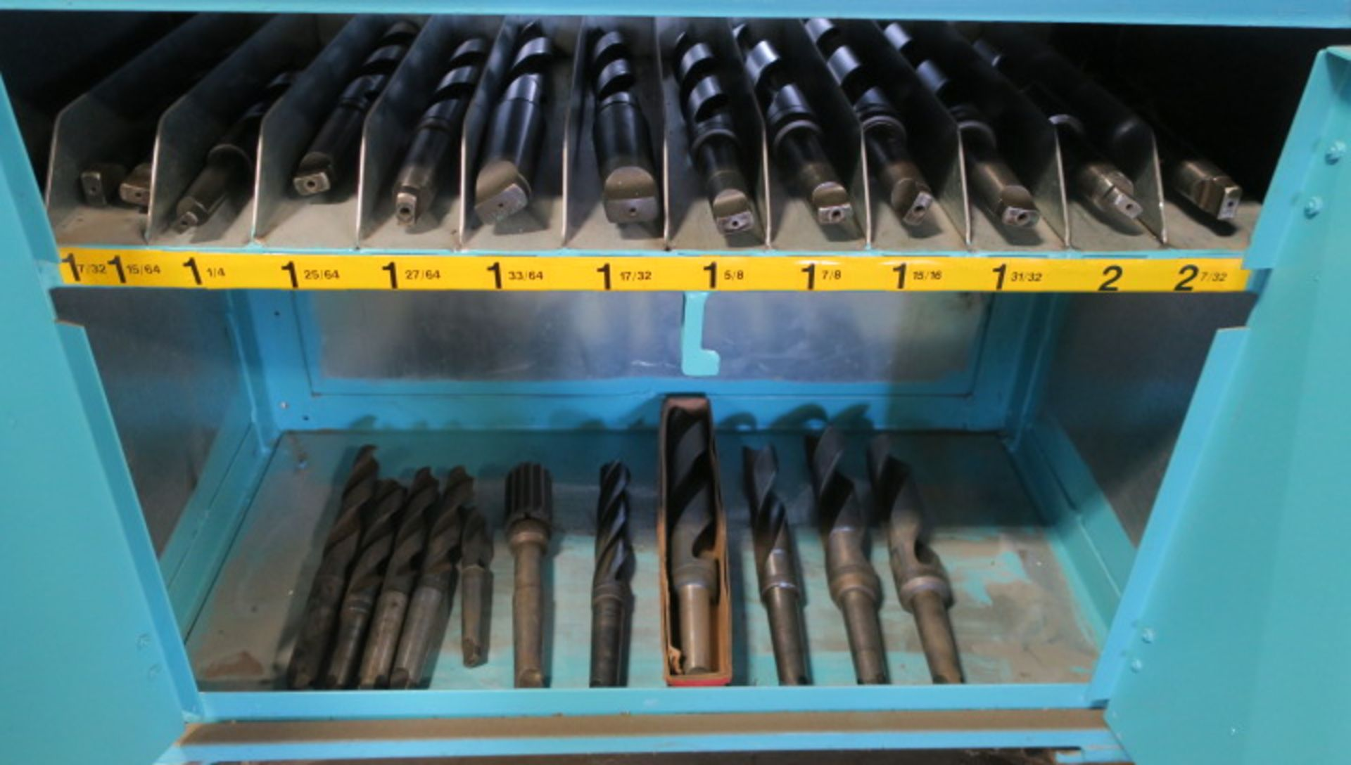 """Lot 7 - CABINET, w/large qty. of taper shank drills from 1/2"""" to 2-7/32"""" dia., in sorted trays"""