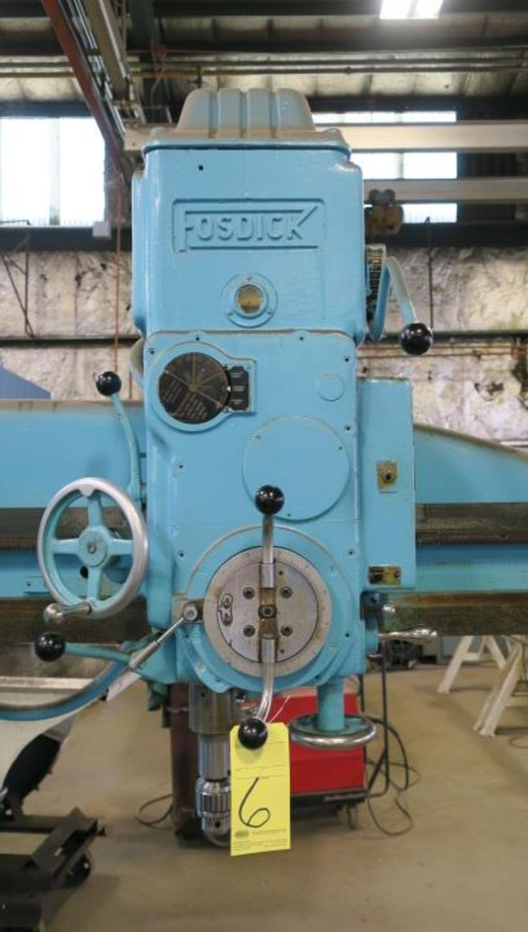 "Lot 6 - RADIAL ARM DRILL, FOSDICK 4' SENSITIVE TYPE, spds: 50-2000 RPM, #4 MT spdl., 24-1/2"" x 48"" pwr."