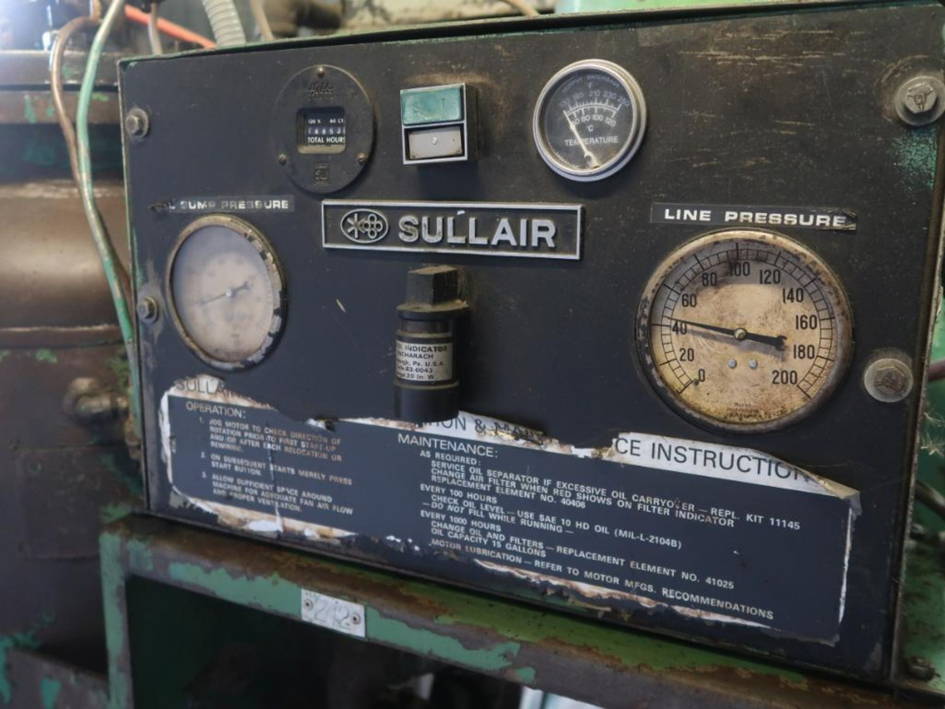 Lot 63 - Sullair 100 HP Air Compressor Model 25-100H, S/N 6492 GLD