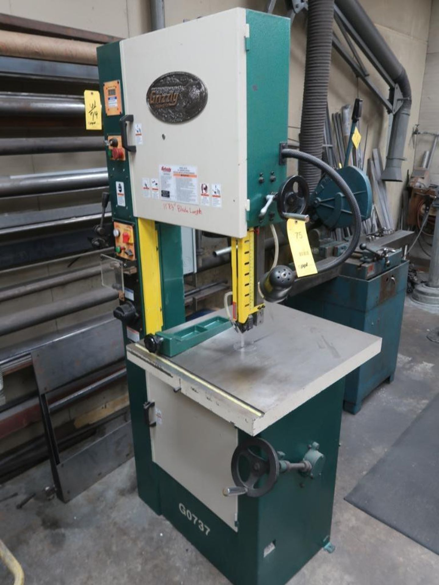 Lot 75 - Grizzly 18 in. Variable Speed Band Saw / Welder Model G0737, S/N 1209021 (2012)