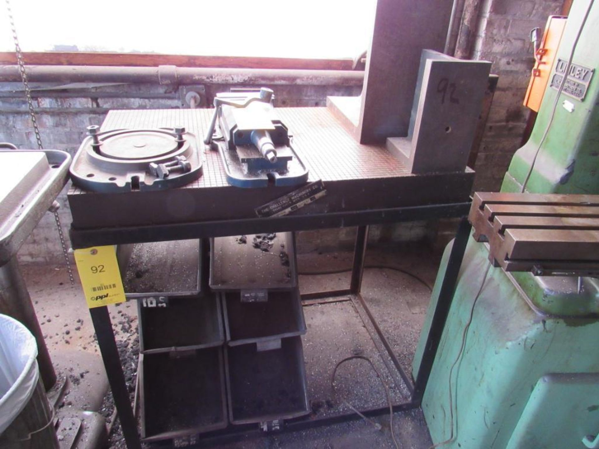 Lot 92 - LOT: (1) 24 in. x 36 in. Steel Surface Plate on Stand, (2) Assorted Angle Plates