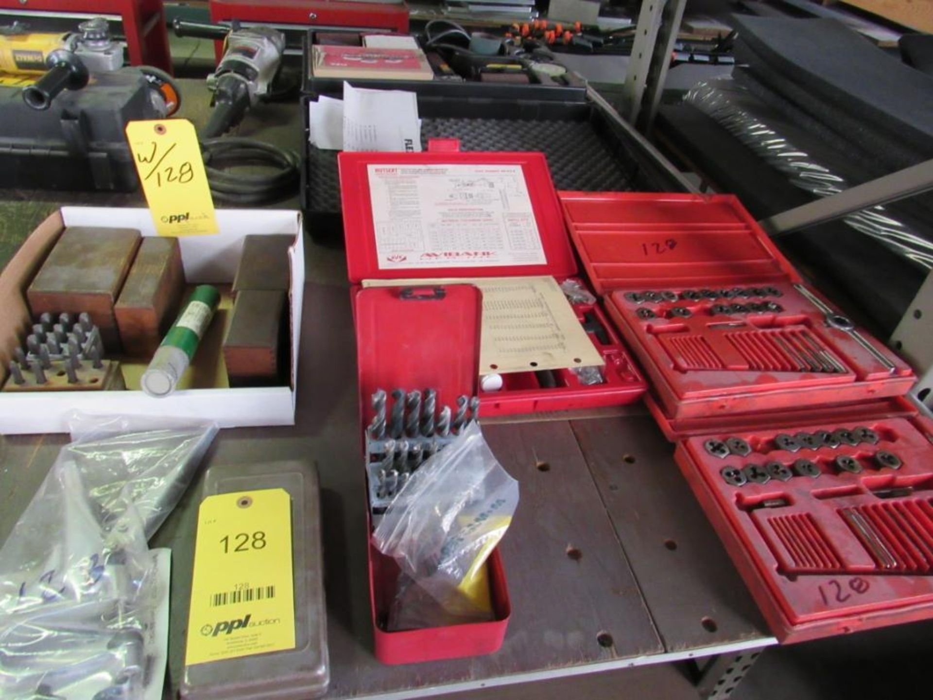 Lot 128 - LOT: (2) Assorted Hand Punches, Assorted Letter & Number Stamps, Drill Index, Nutsert Set, (2) Parti