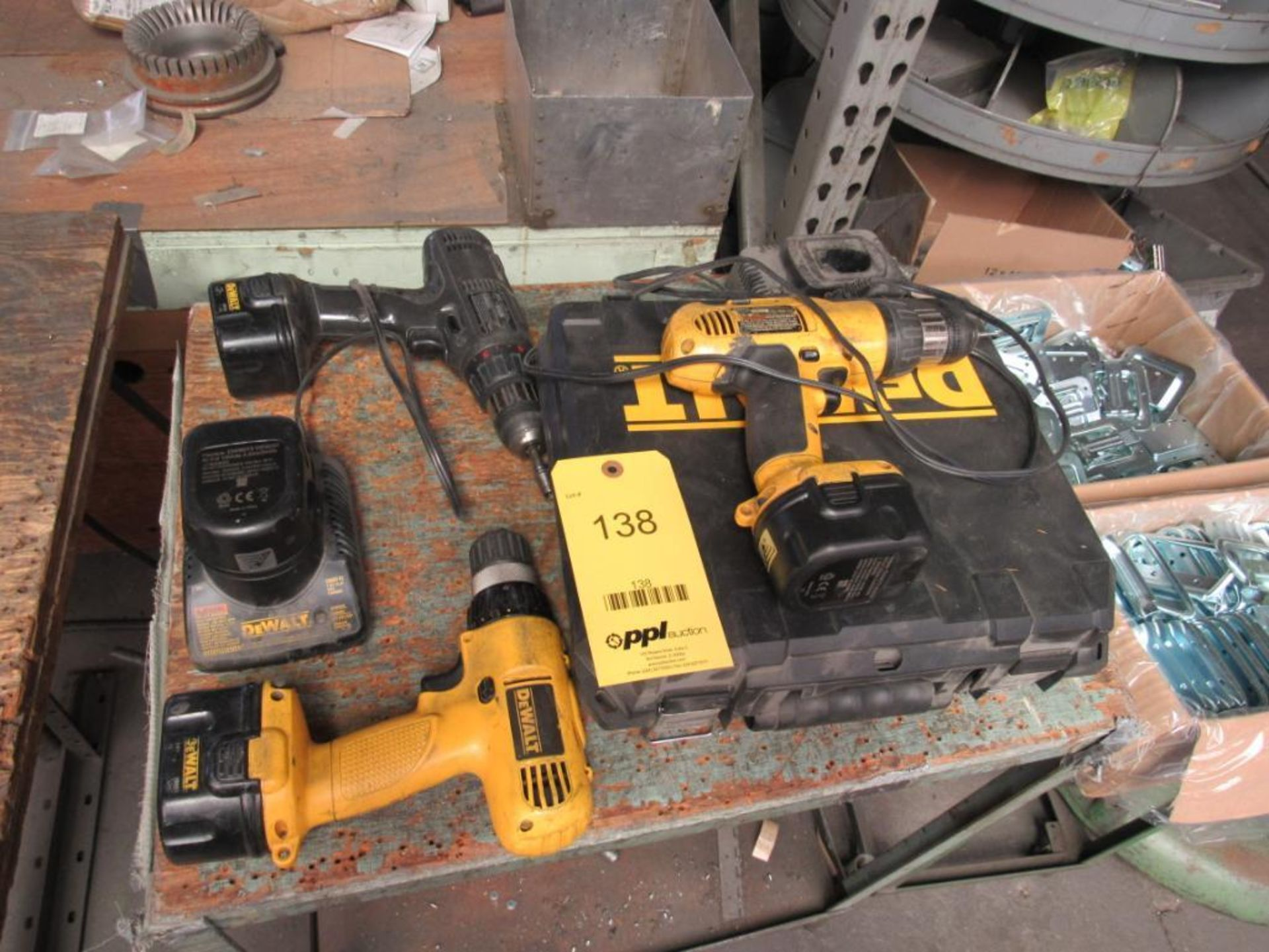 Lot 138 - LOT: (3) Assorted Cordless Drills, Batteries, Chargers