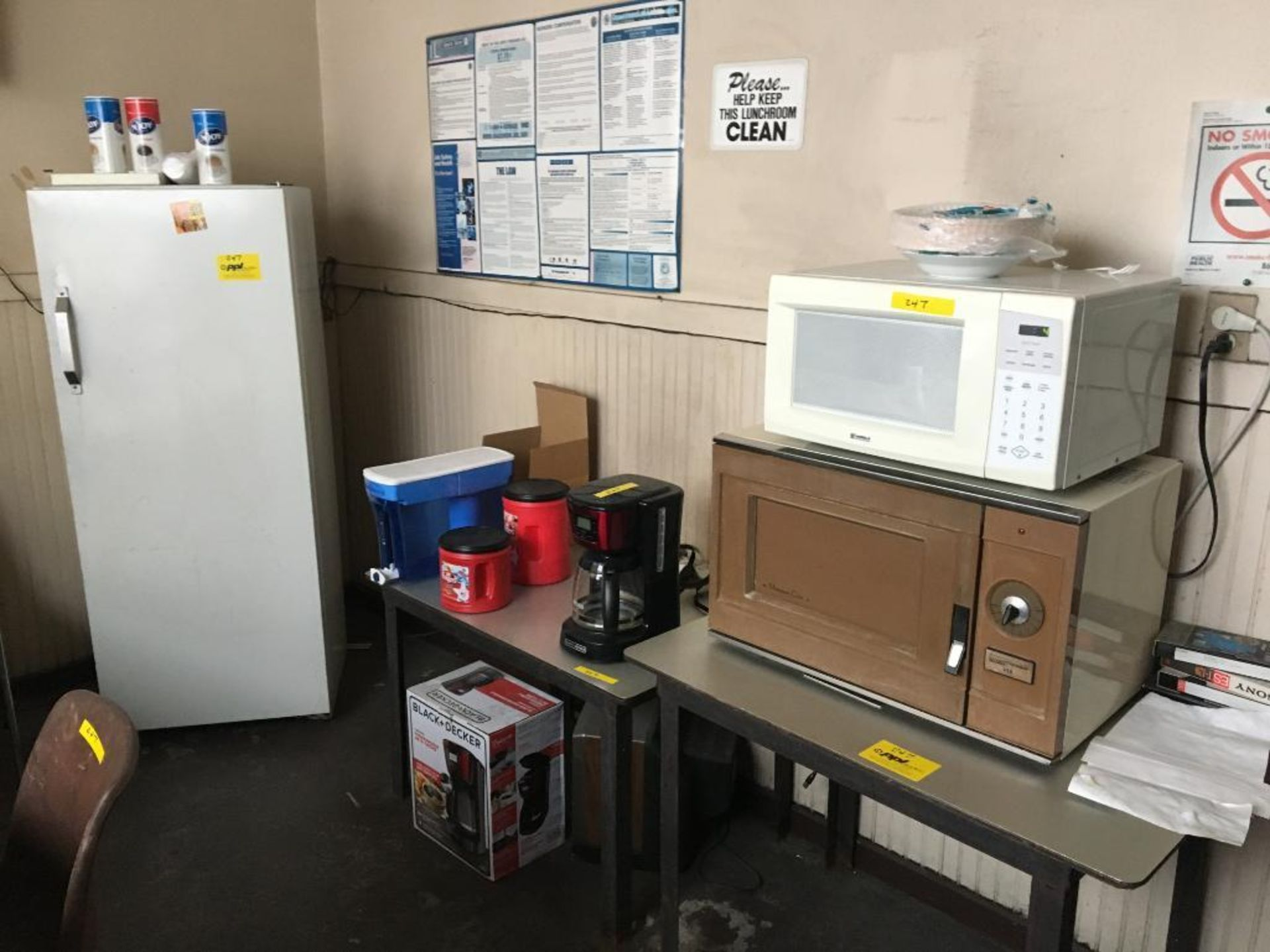 Lot 247 - LOT: Contents of Break Room including (1) Kenmore Refrigerator Model 363.9630010, (2) Assorted Micro